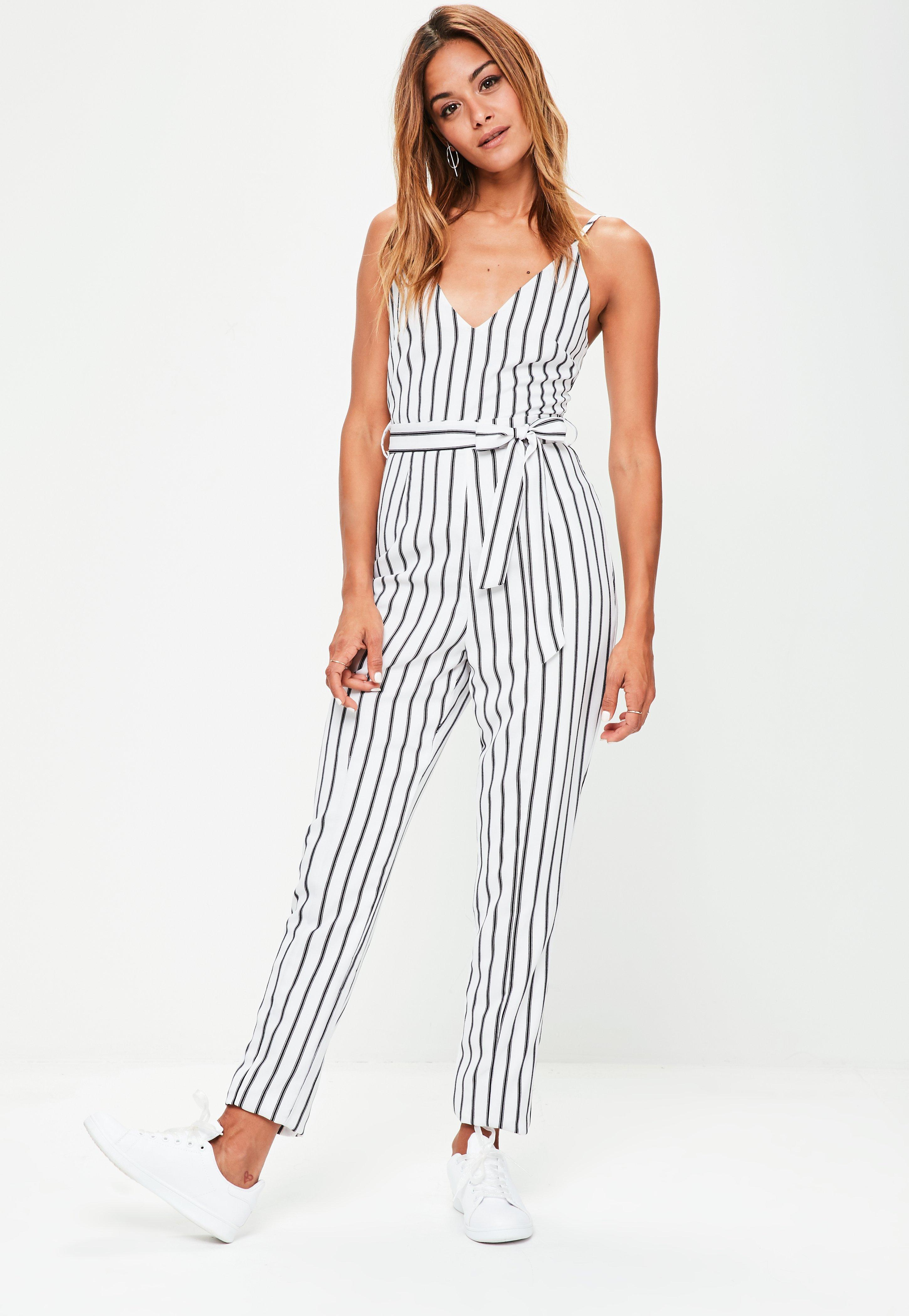 6379496e0e Lyst - Missguided Tall White Striped Cami Jumpsuit in White