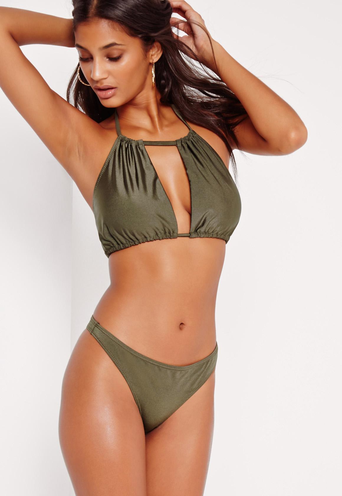 3b2c61da34559 Lyst - Missguided Khaki Super Cheeky Bikini Bottoms - Mix   Match