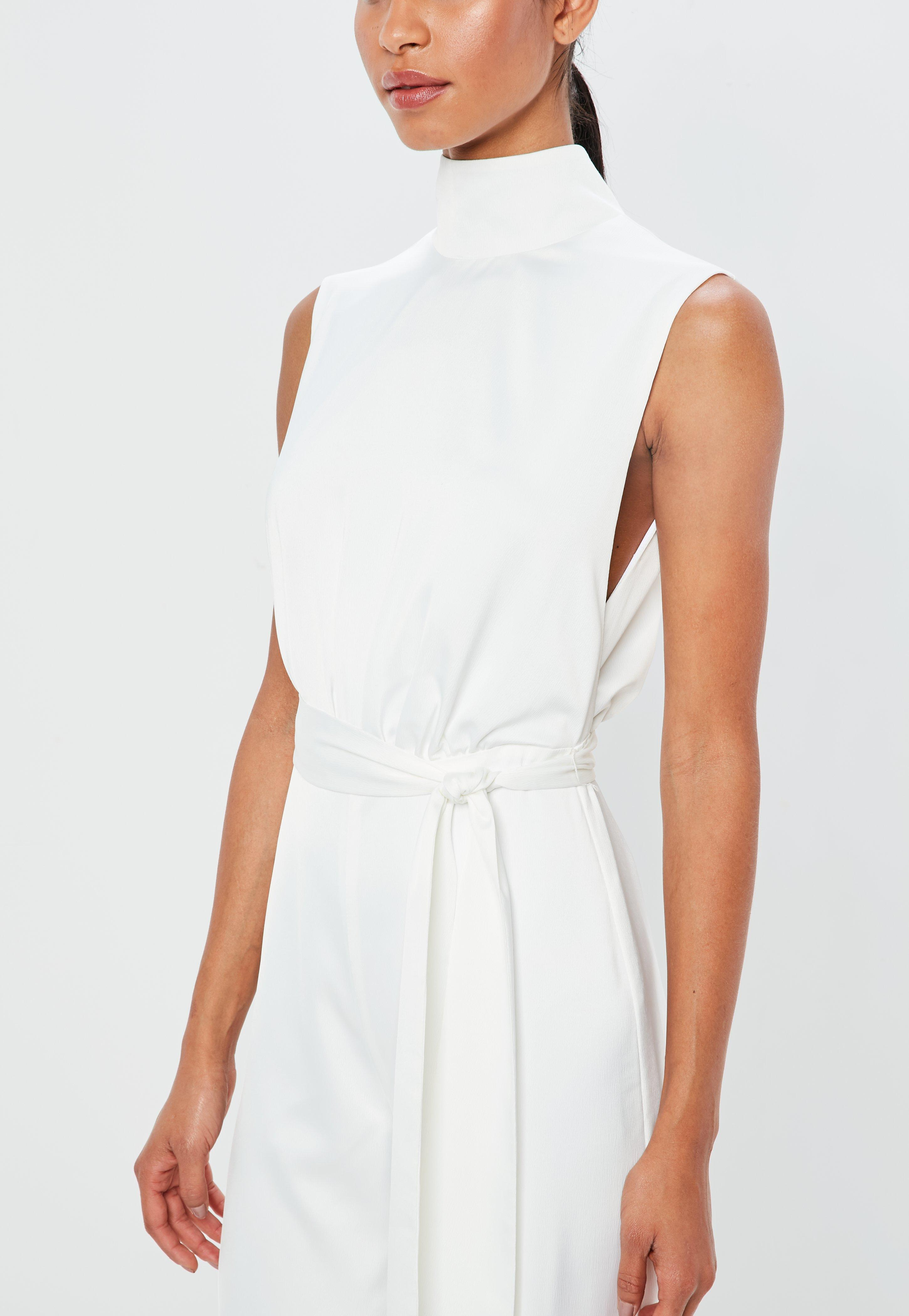 bb6f5da25 Lyst - Missguided Peace + Love White Satin High Neck Belted Jumpsuit ...