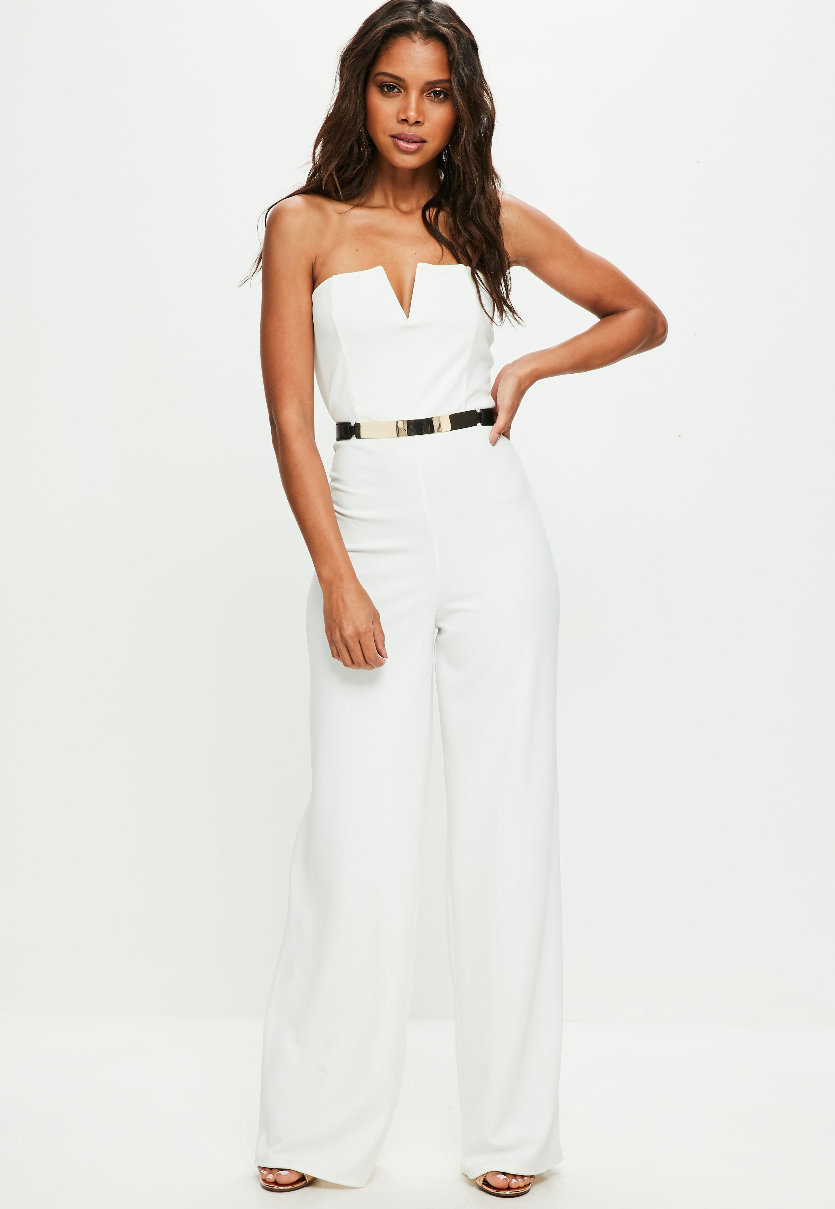 4a997dc833e Missguided White Bandeau Wide Leg Jumpsuit in White - Lyst
