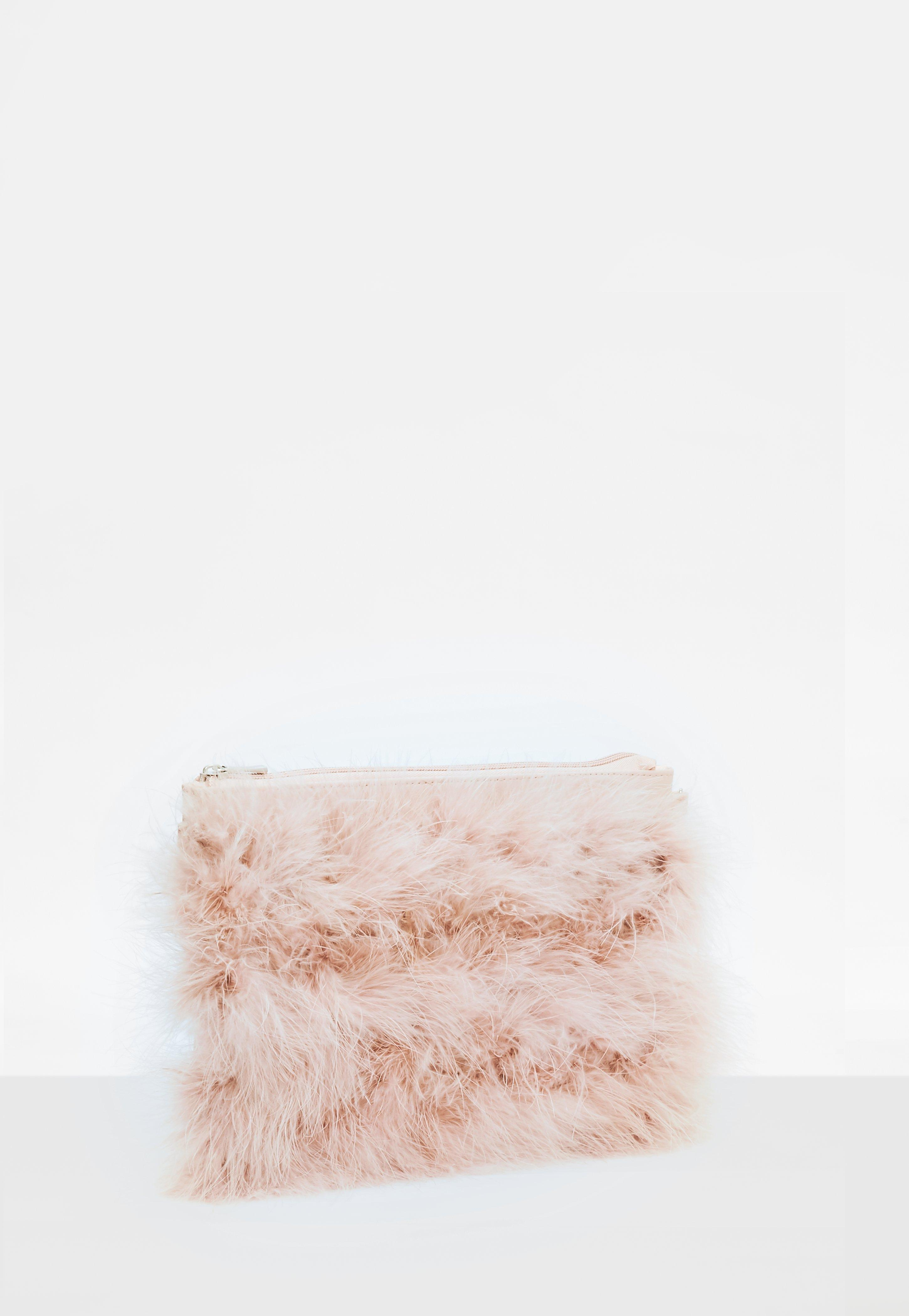 Missguided Pink Feather Zip Front Clutch in Pink - Lyst 5b5e724b4f80e