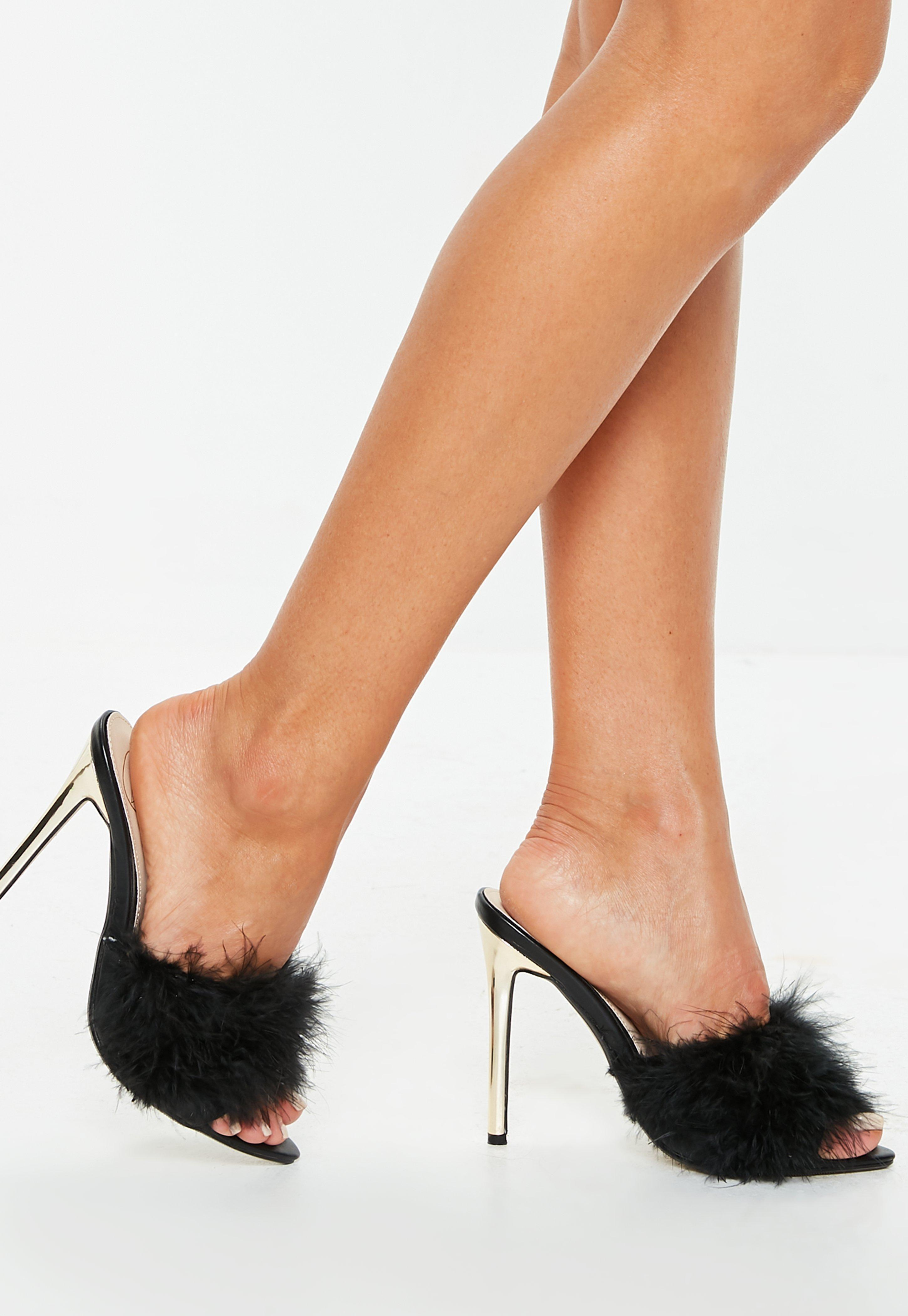 6ae437eb8ae9 Lyst - Missguided Black Feather Vamp Peep Toe Mules in Black