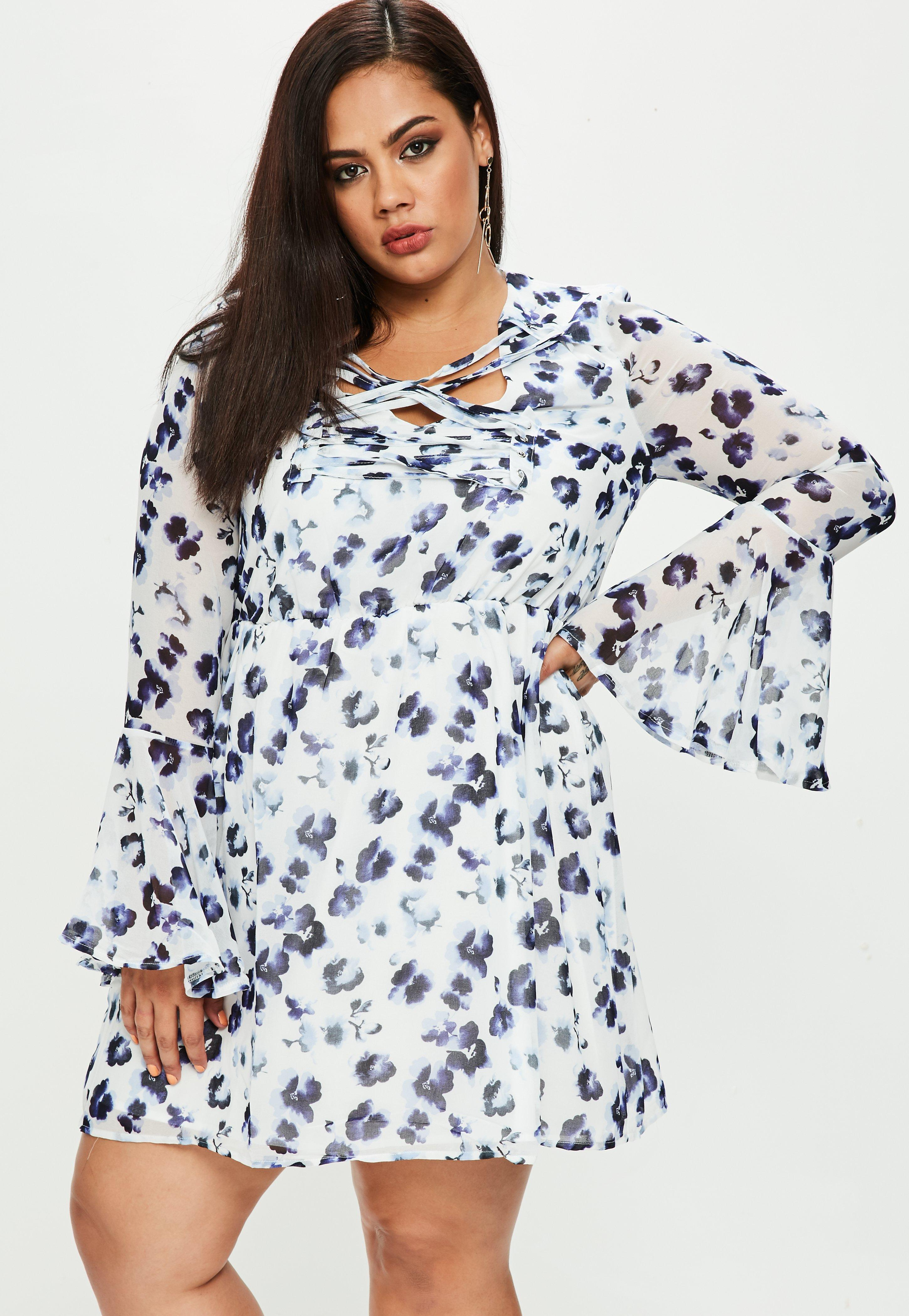 Prices Sale Online Pre Order For Sale Missguided Plus Size Floral Print Lace Up Dress Cheap In China Outlet 2018 Newest Sale 2018 Unisex WzIQsQ