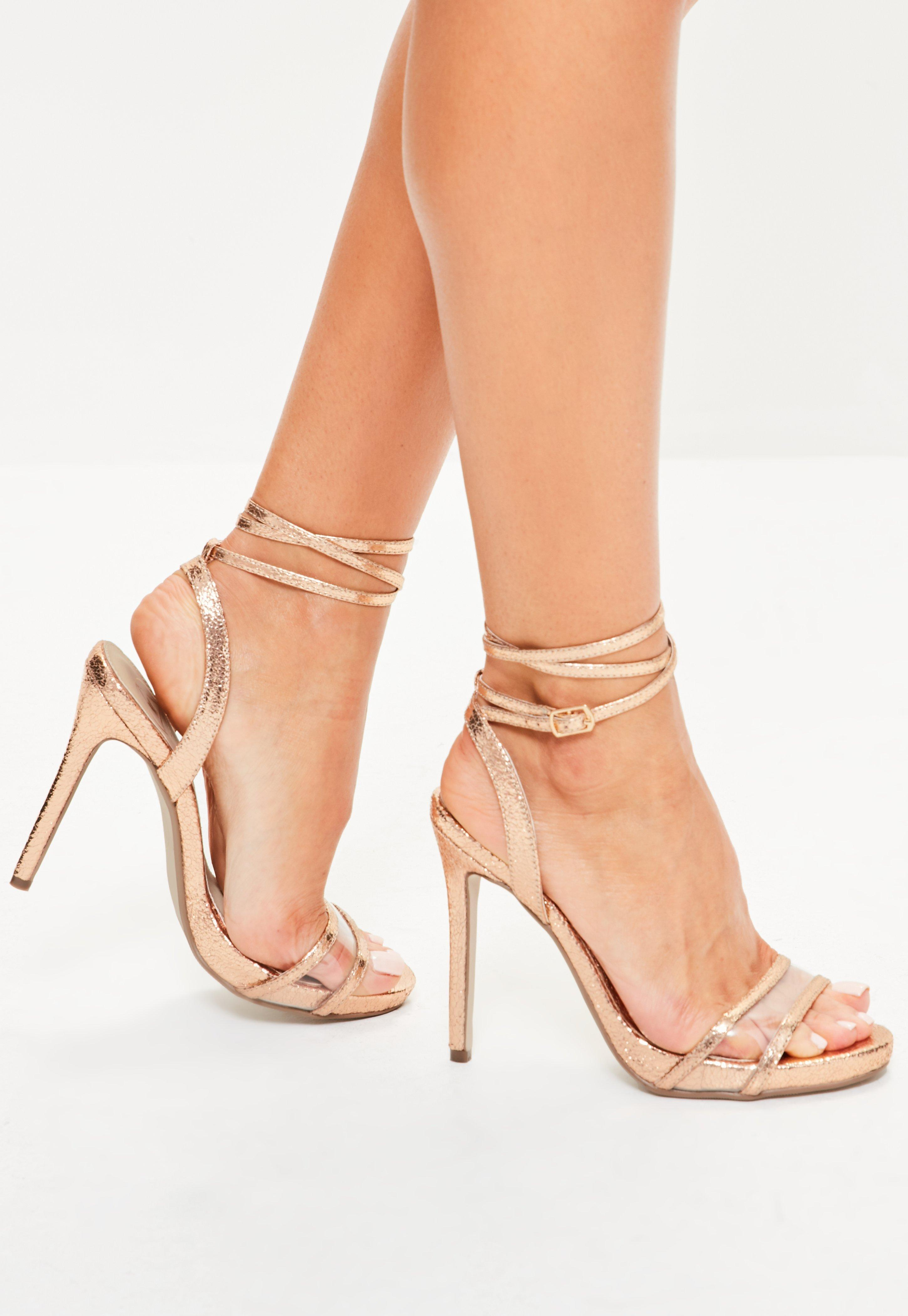 Missguided. Women's Rose Gold Perspex Vamp Ankle Tie Sandals