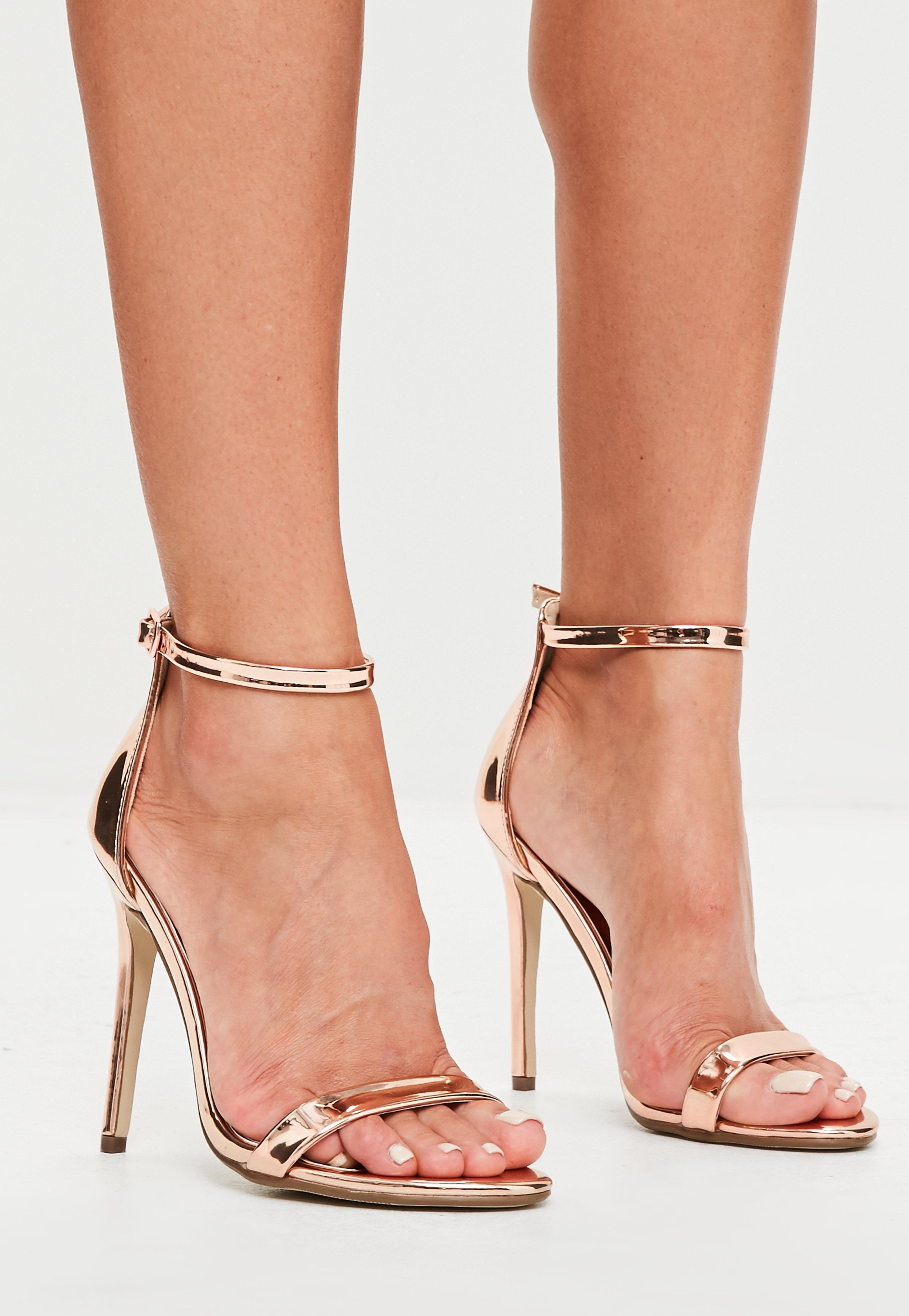 52e964447548 Lyst - Missguided Rose Gold Two Straps Barely There Sandals - Save 82%