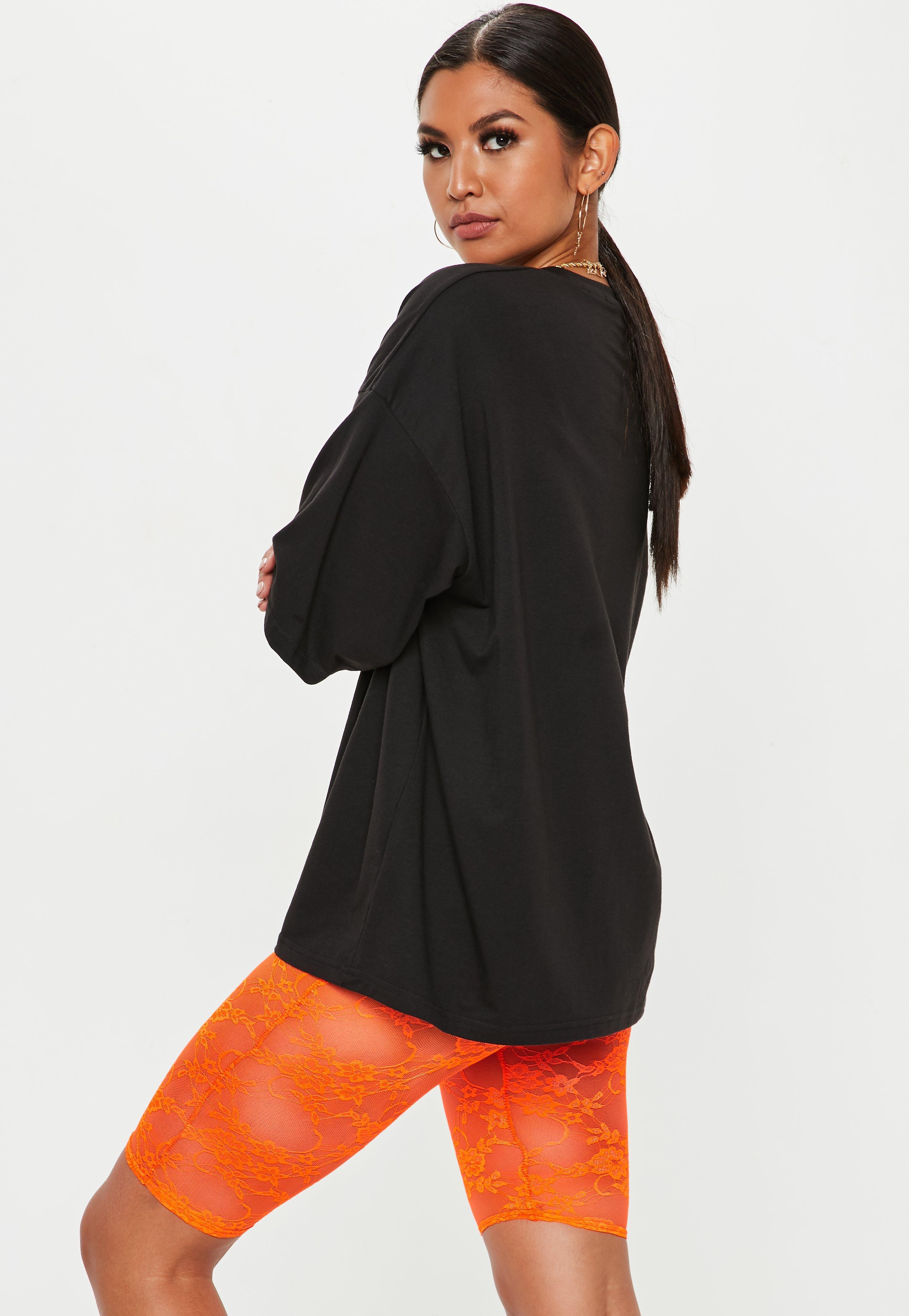 1e5e19943f Lyst - Missguided Neon Orange Lace Cycling Shorts in Orange