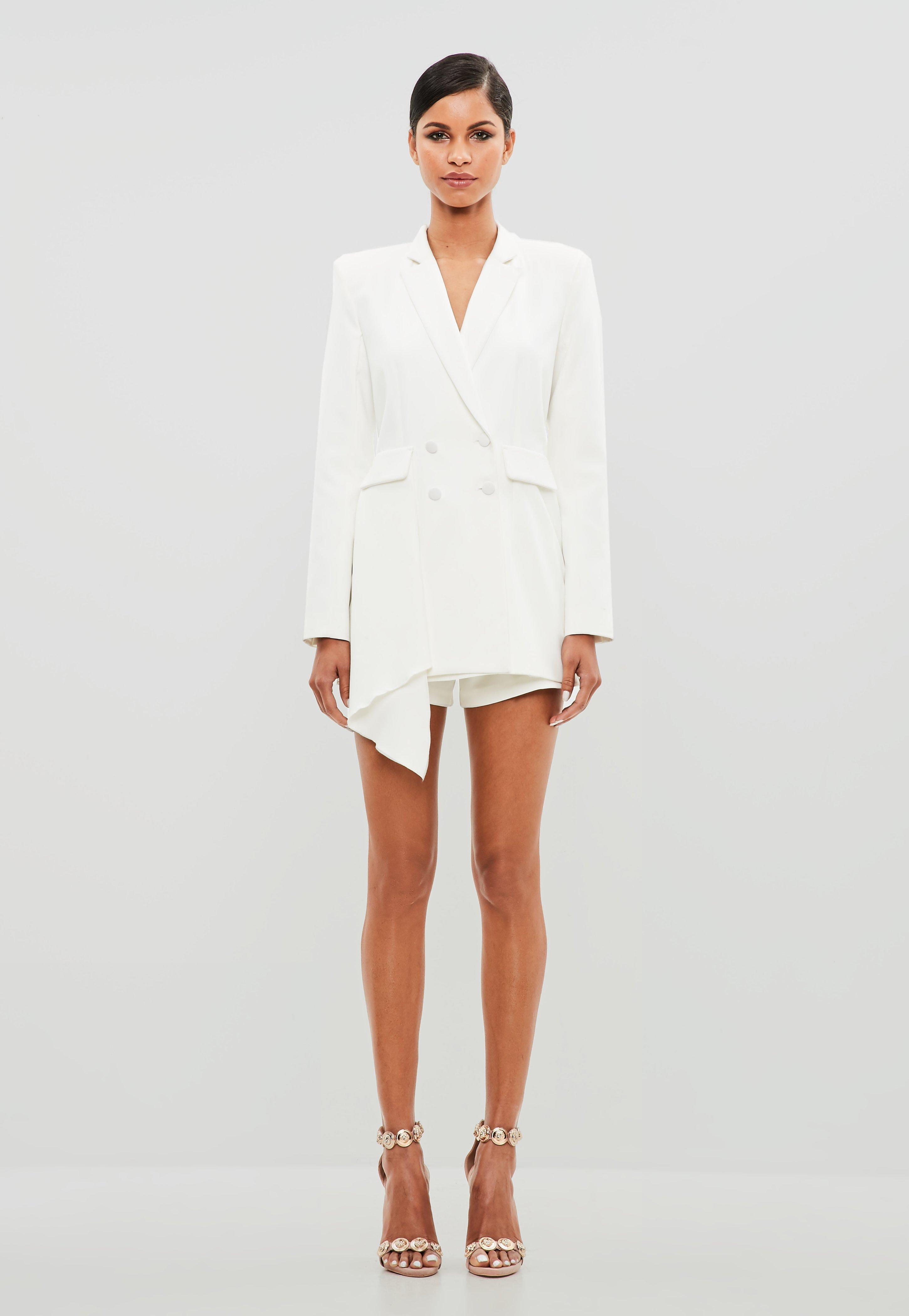 d8b89e64c9a Lyst - Missguided Peace + Love White Tuxedo Blazer Playsuit in White