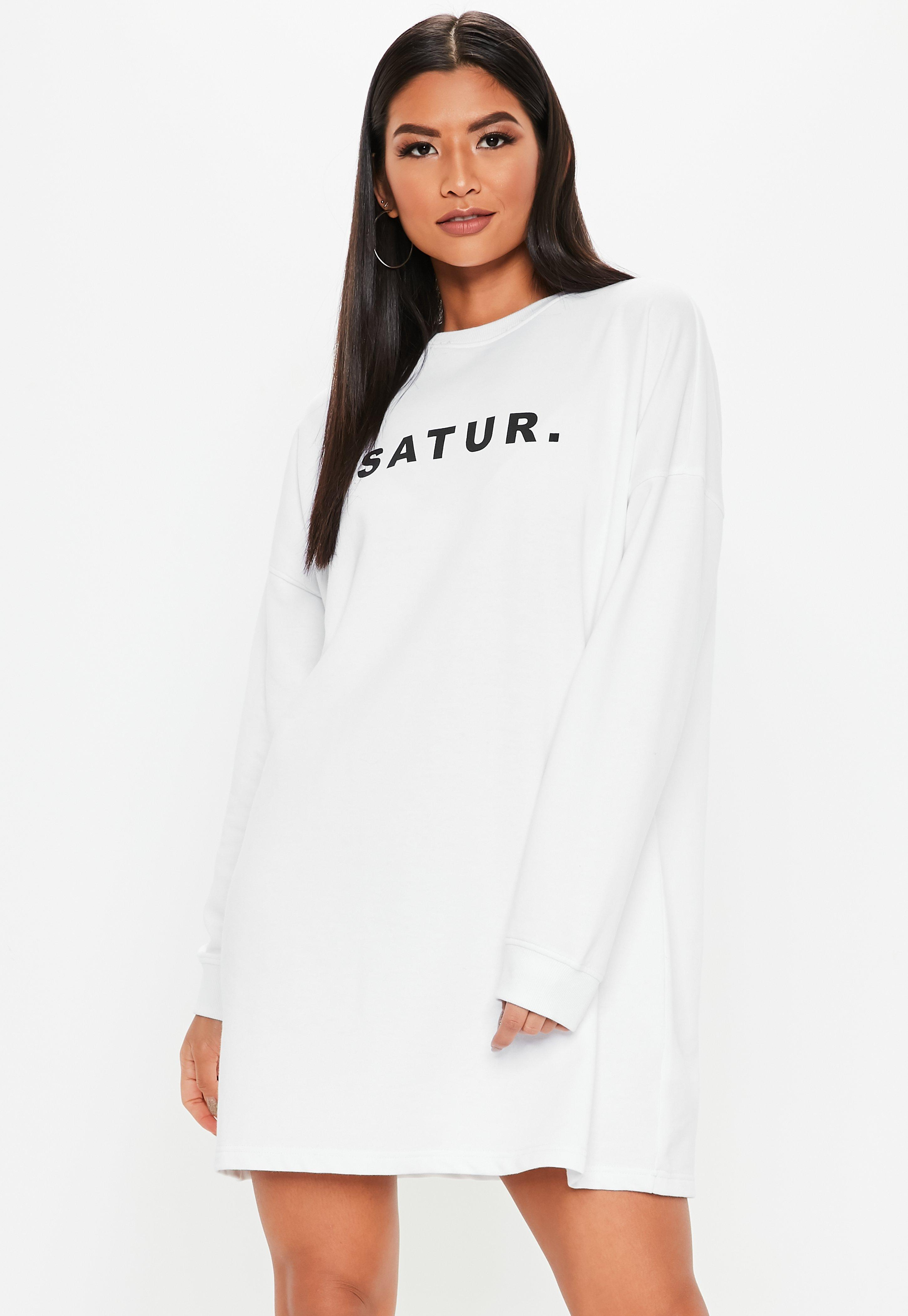 ee14a25e627 Lyst - Missguided White Oversized Saturday Sweater Dress in White