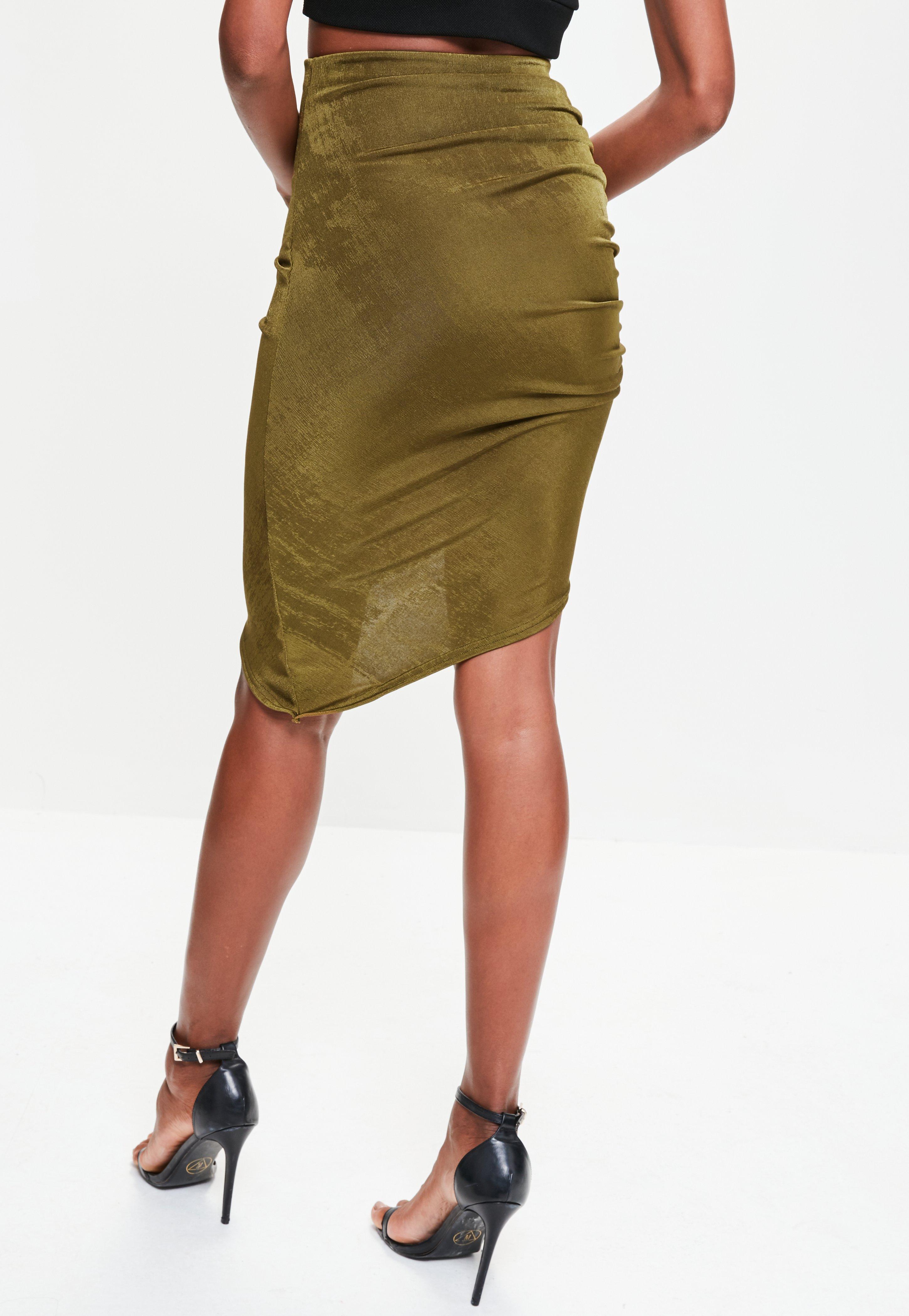 b200d0fcb3 Lyst - Missguided Khaki Asymmetric Ruched Side Slinky Midi Skirt in ...