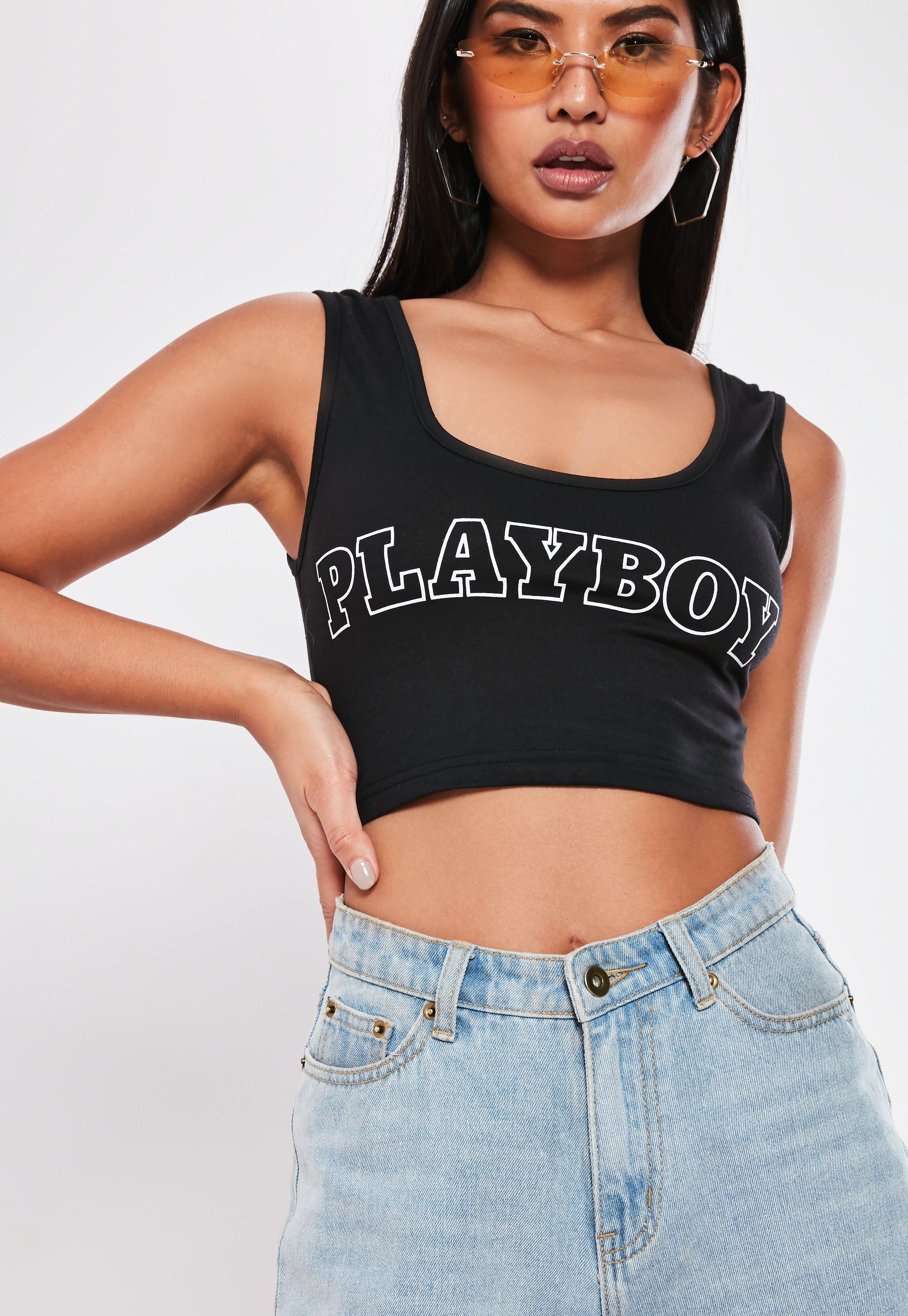 b0cba292ecd98 Missguided - Playboy X Black Slogan Scoop Neck Crop Top - Lyst. View  fullscreen