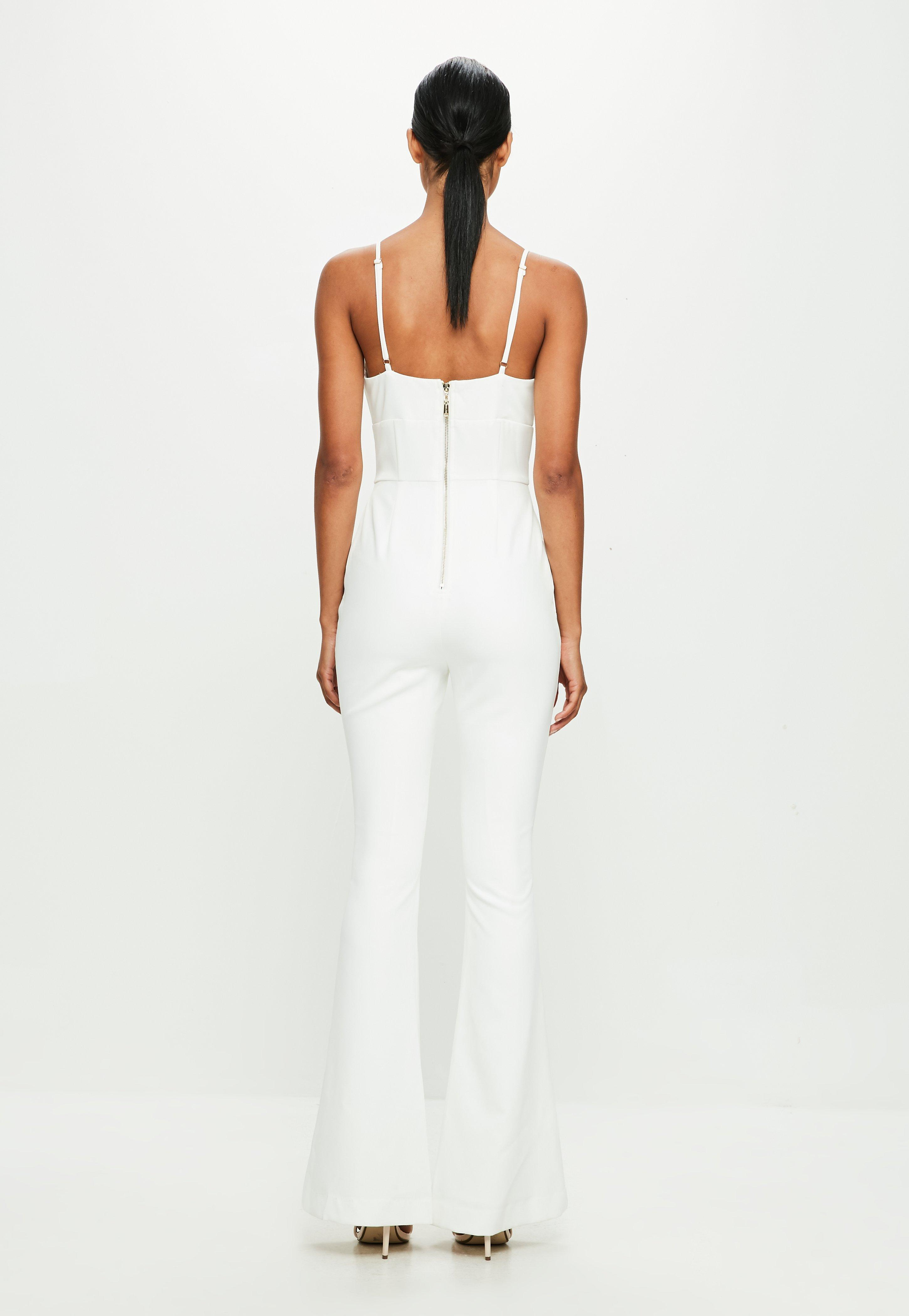 3e25bd8a0717 Lyst - Missguided Peace + Love White Strappy Double Button Flared ...