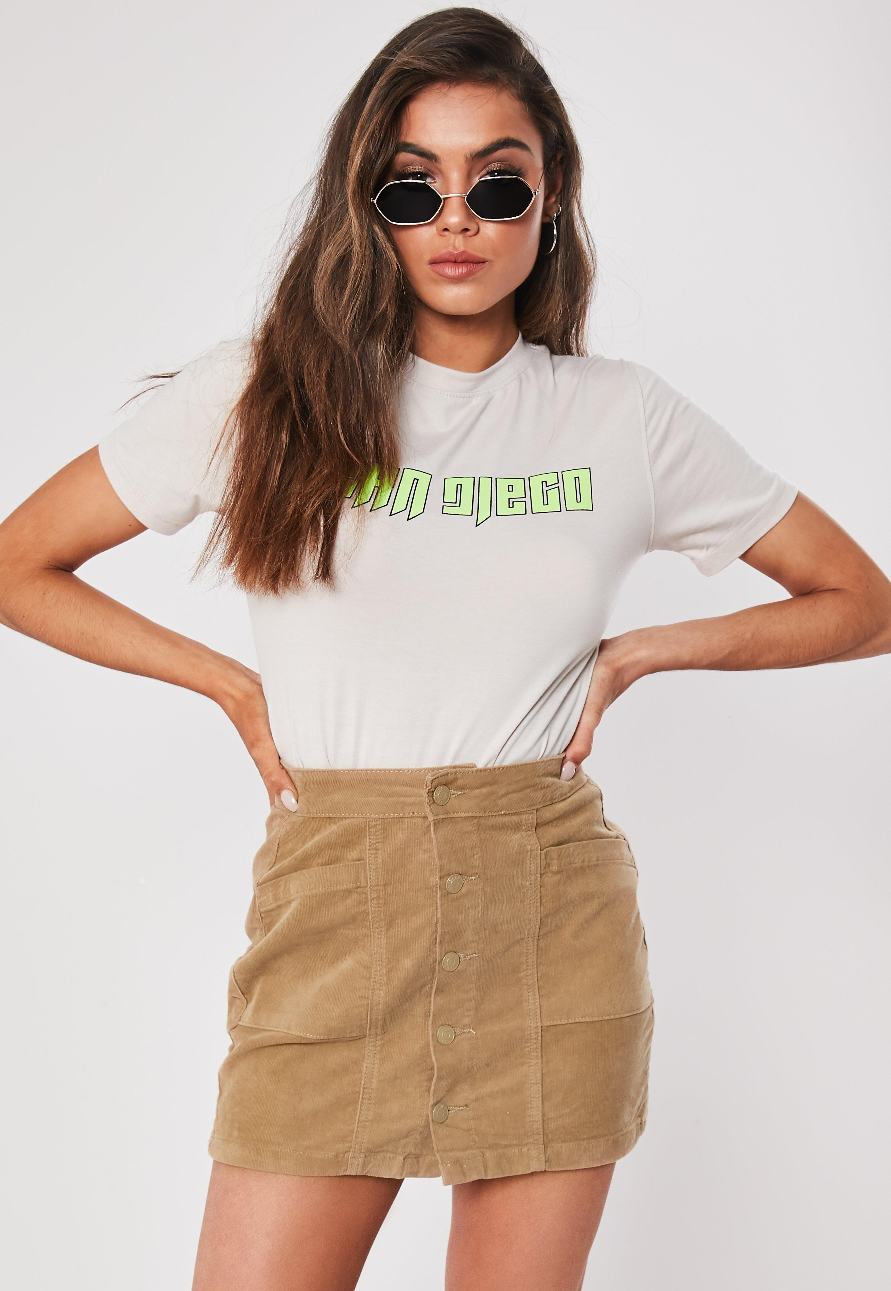 9e700bce3 Lyst - Missguided Tan Cord Mini Skirt in Brown