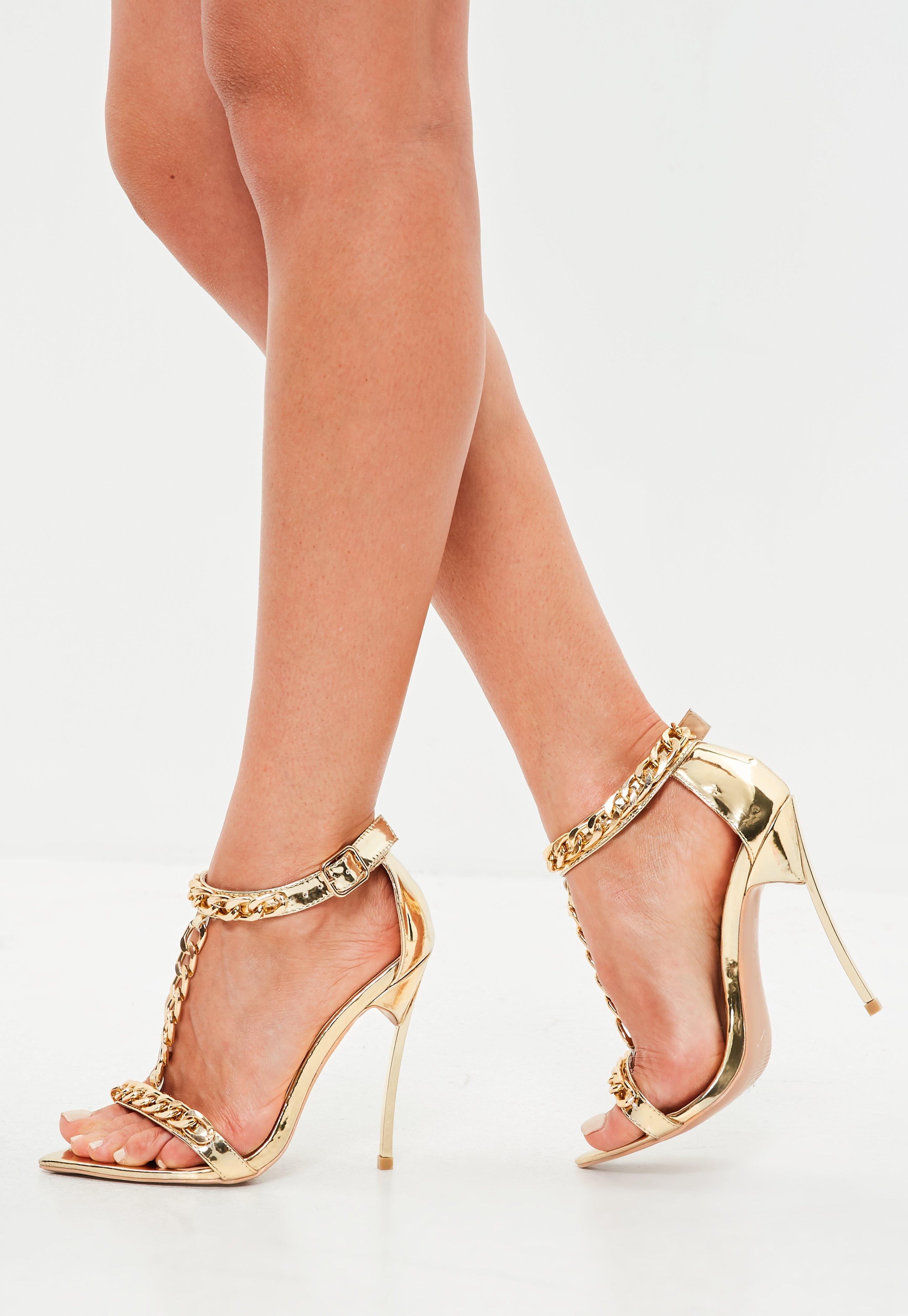 e469cd1d58f402 Lyst - Missguided Peace + Love Gold Chain Embellished Sandal in Metallic