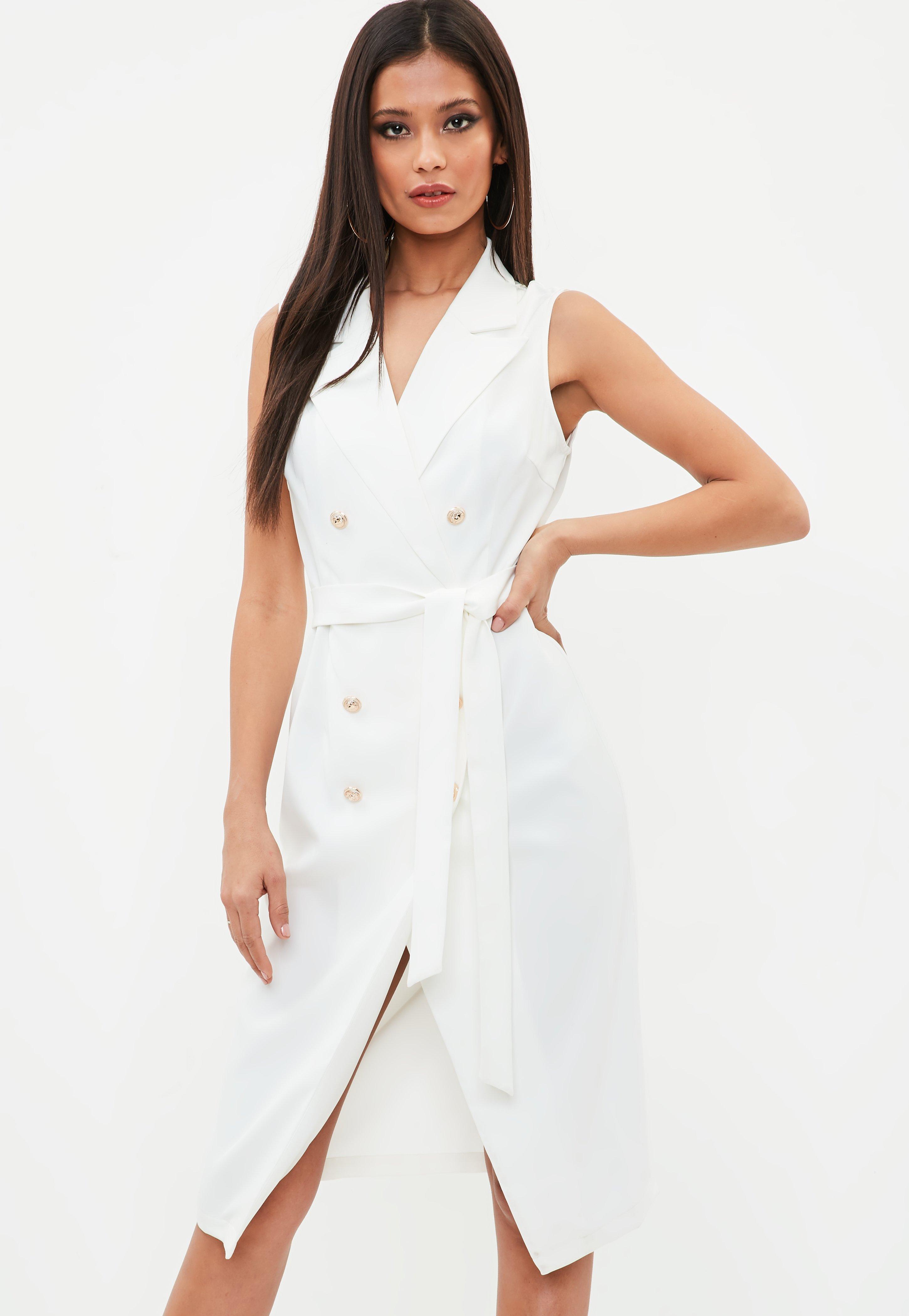 6178fb92f2b1b2 Lyst - Missguided White Sleeveless Belted Midi Blazer Dress in White