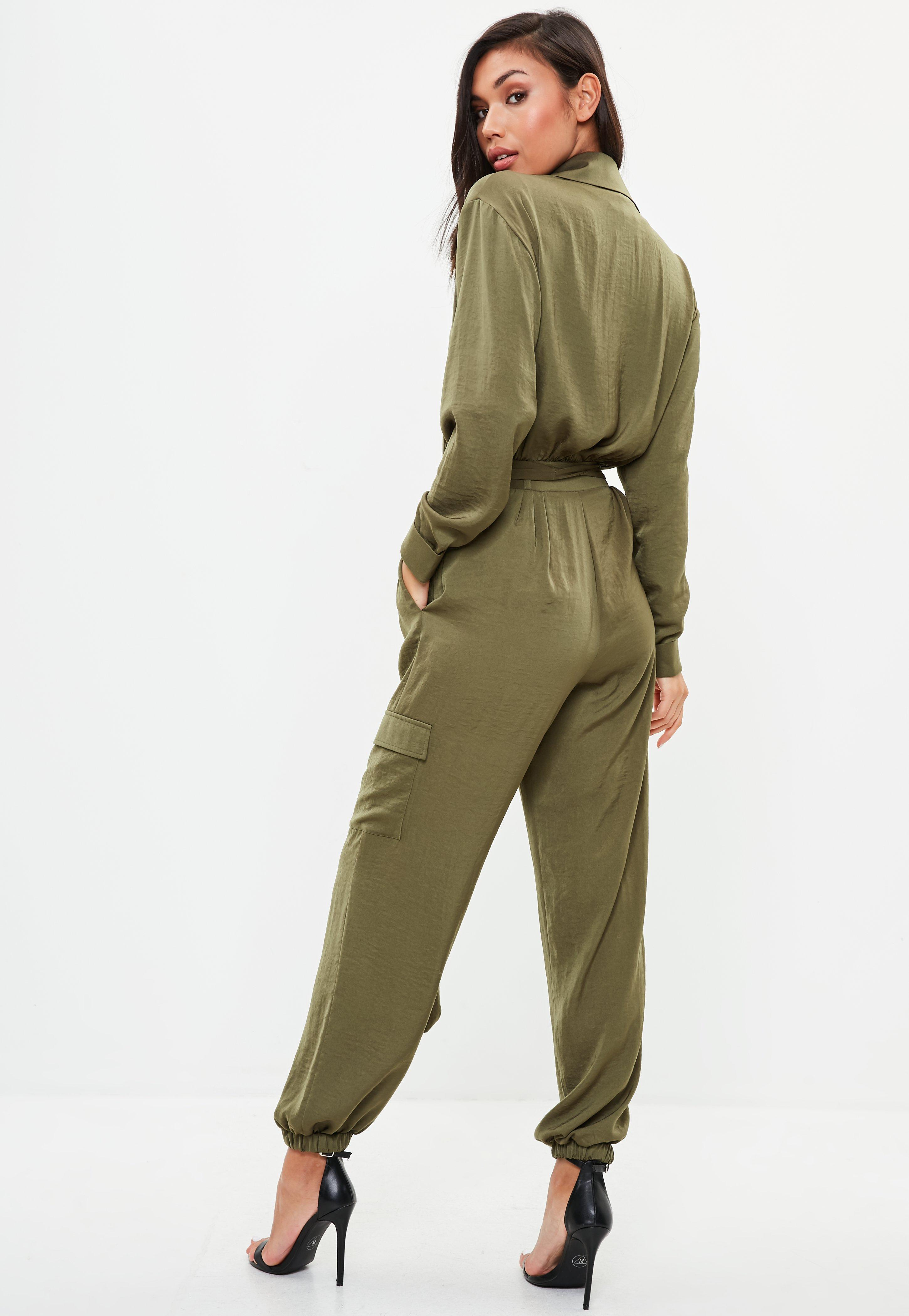 1848a2299cc4 Missguided Khaki Satin Utility Jumpsuit in Green - Lyst
