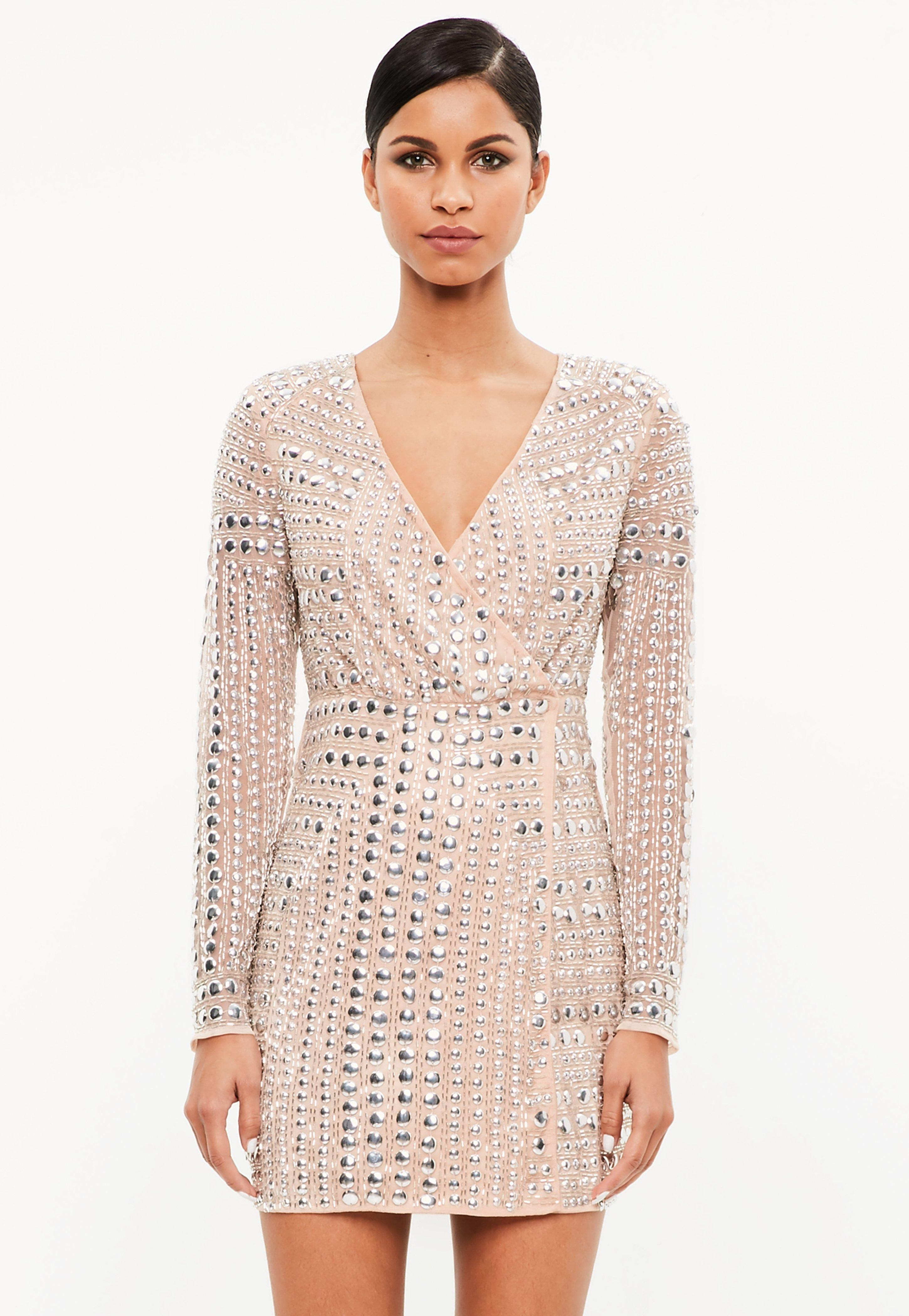 a8aa5aef Lyst - Missguided Peace + Love Premium Nude Stud Mini Dress in Natural
