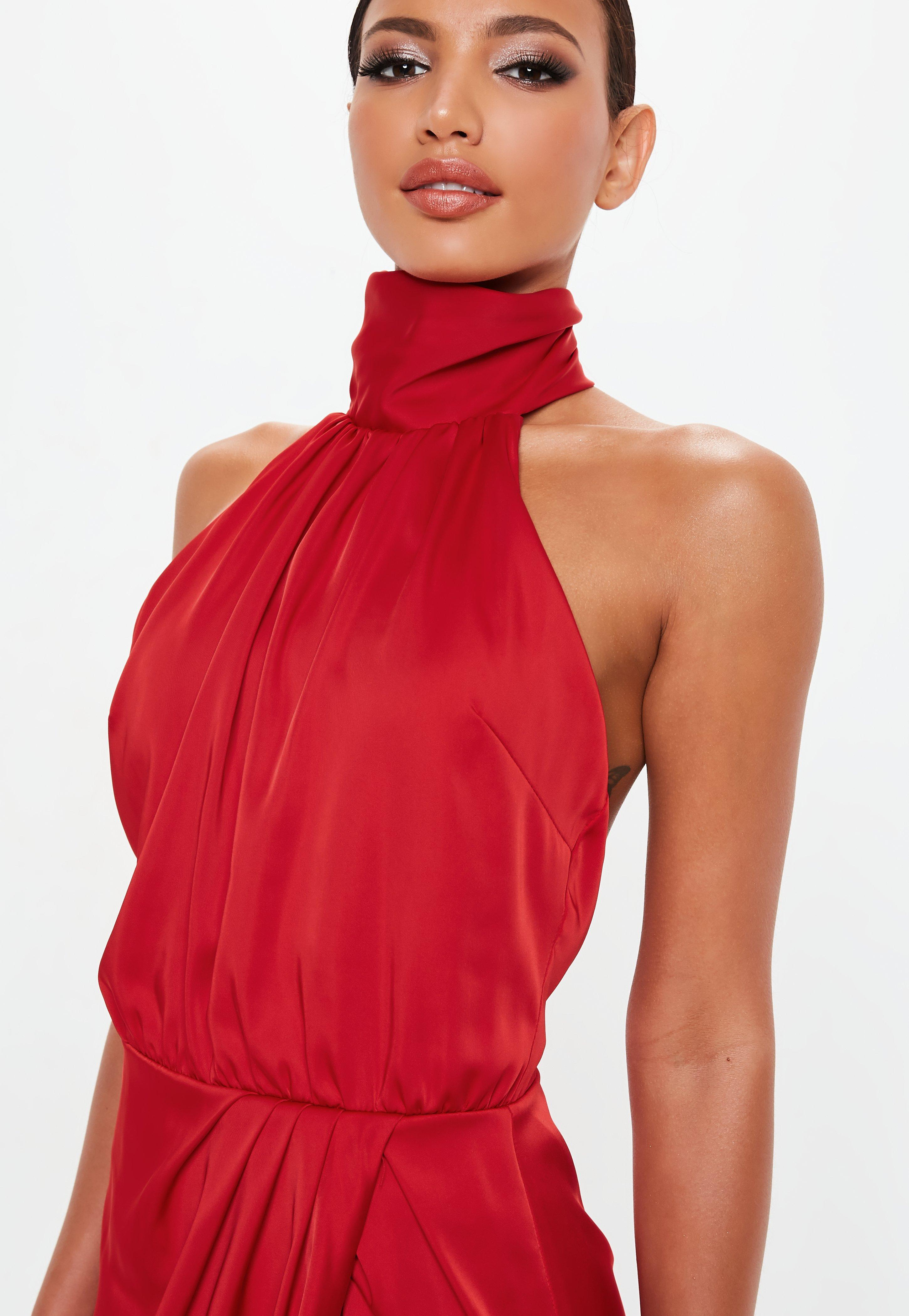 ebebe83bea7 Missguided Peace + Love Red Wrap Satin Playsuit in Red - Lyst