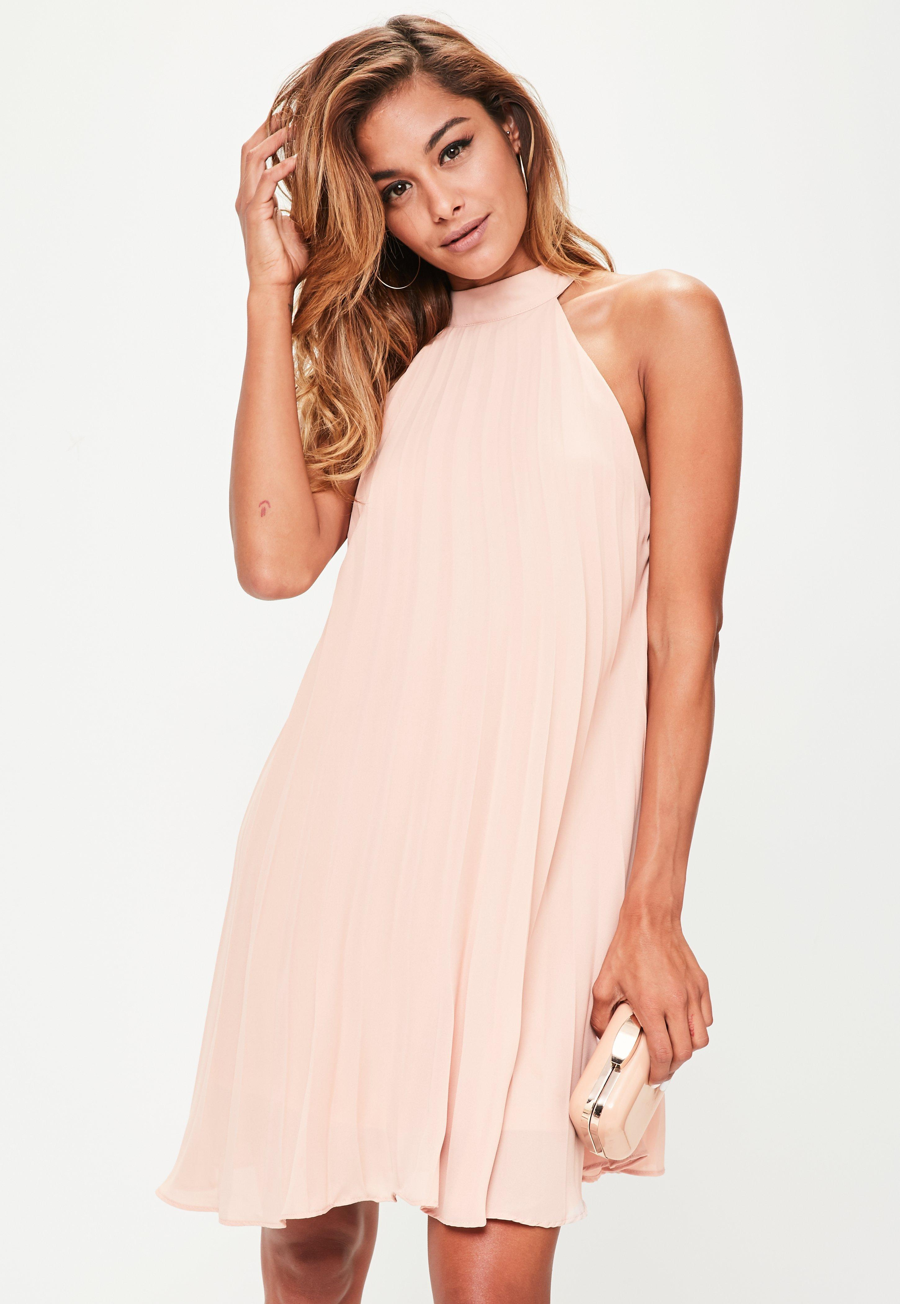 25e3f6cca8c3 Lyst - Missguided Nude Halterneck Pleated Swing Dress in Natural