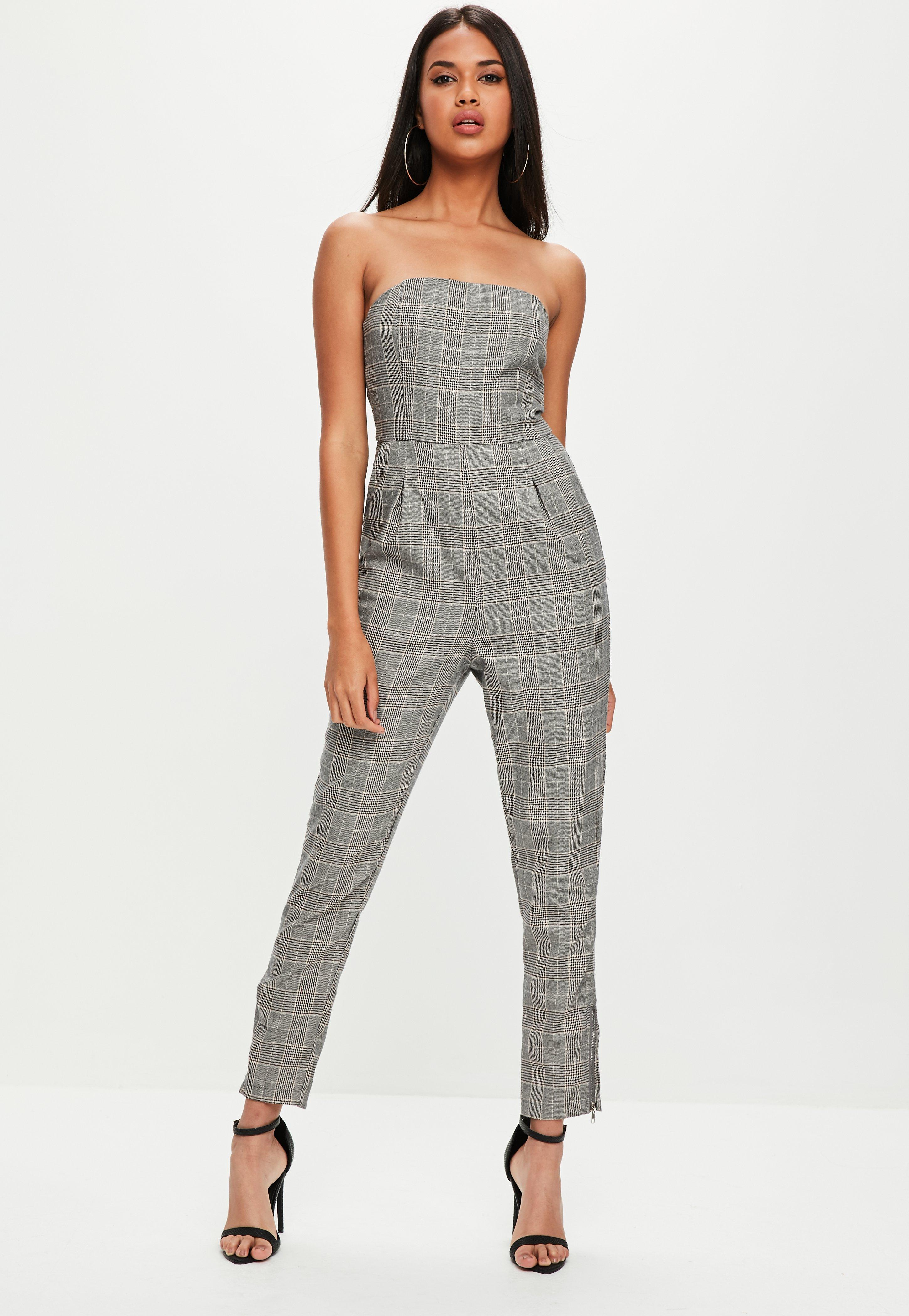 3fb66b7597a Lyst - Missguided Grey Plaid Bandeau Jumpsuit in Gray