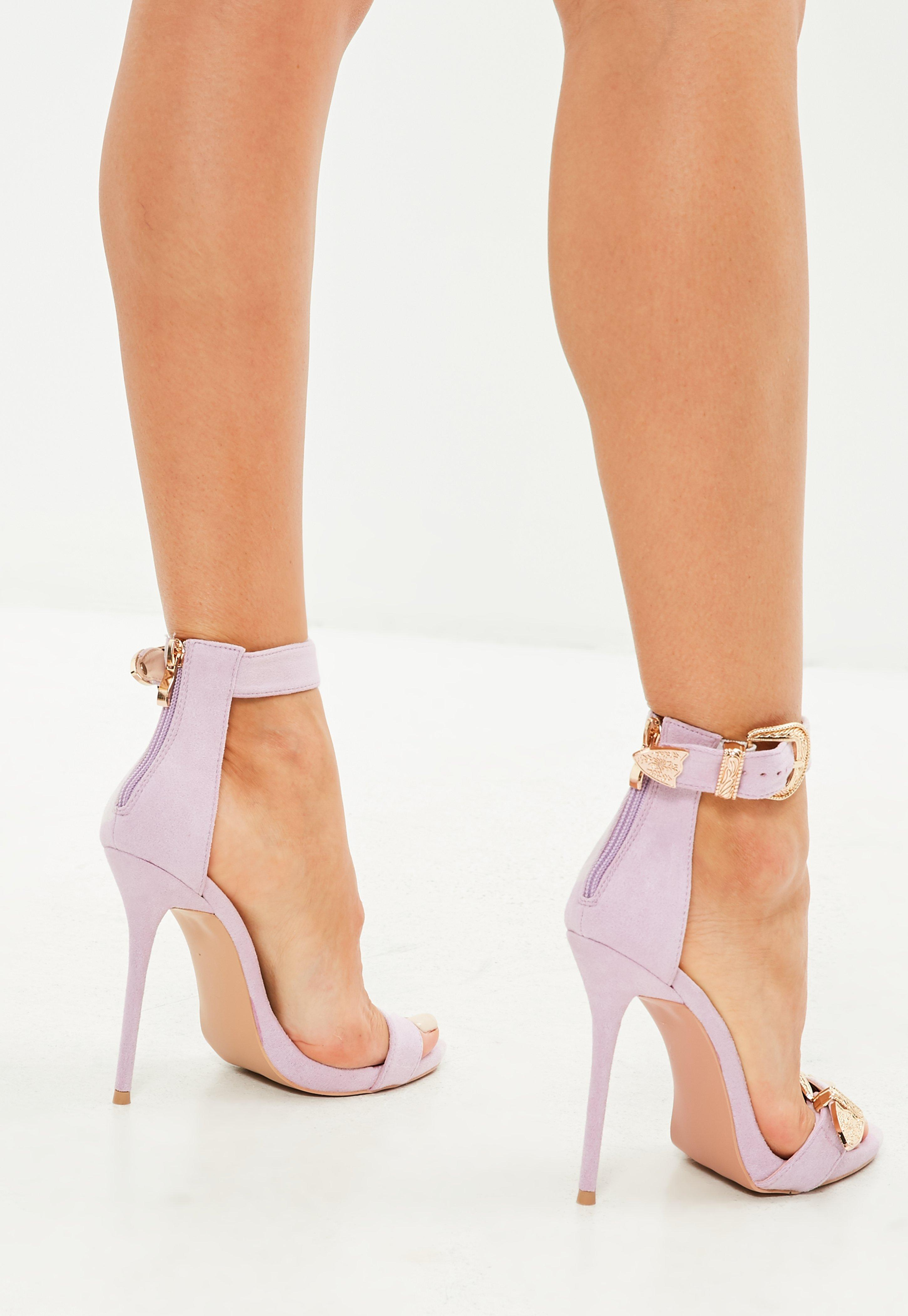 ab053d7c1de Lyst - Missguided Peace + Love Pink Large Buckle Detail Barely There ...