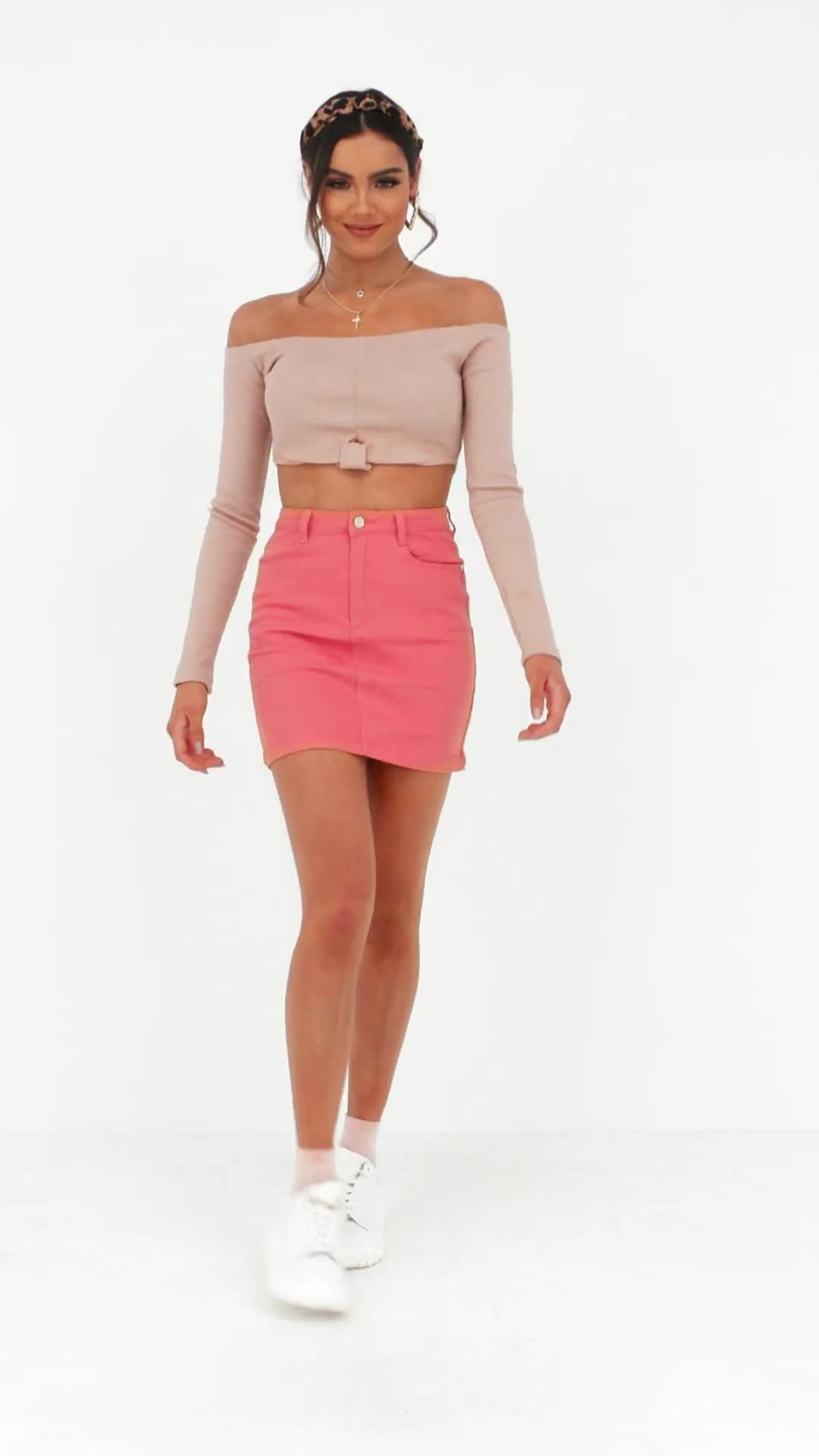 f16c56f856 Missguided - Pink Tall Coral Denim Superstretch Mini Skirt - Lyst. View  fullscreen