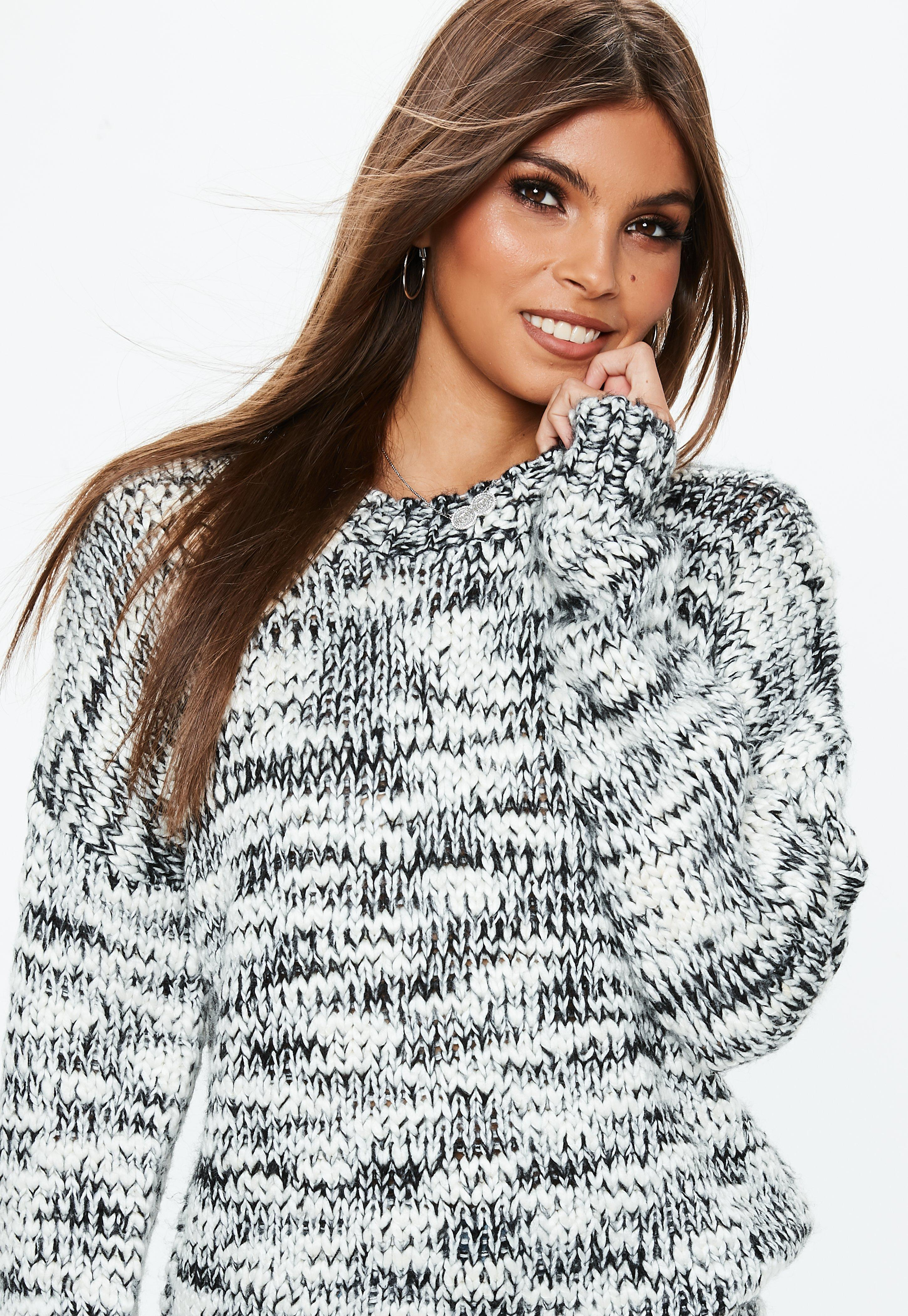 513d11f38d1ee1 ... Grey Chunky Knitted Boyfriend Sweater - Lyst. View fullscreen