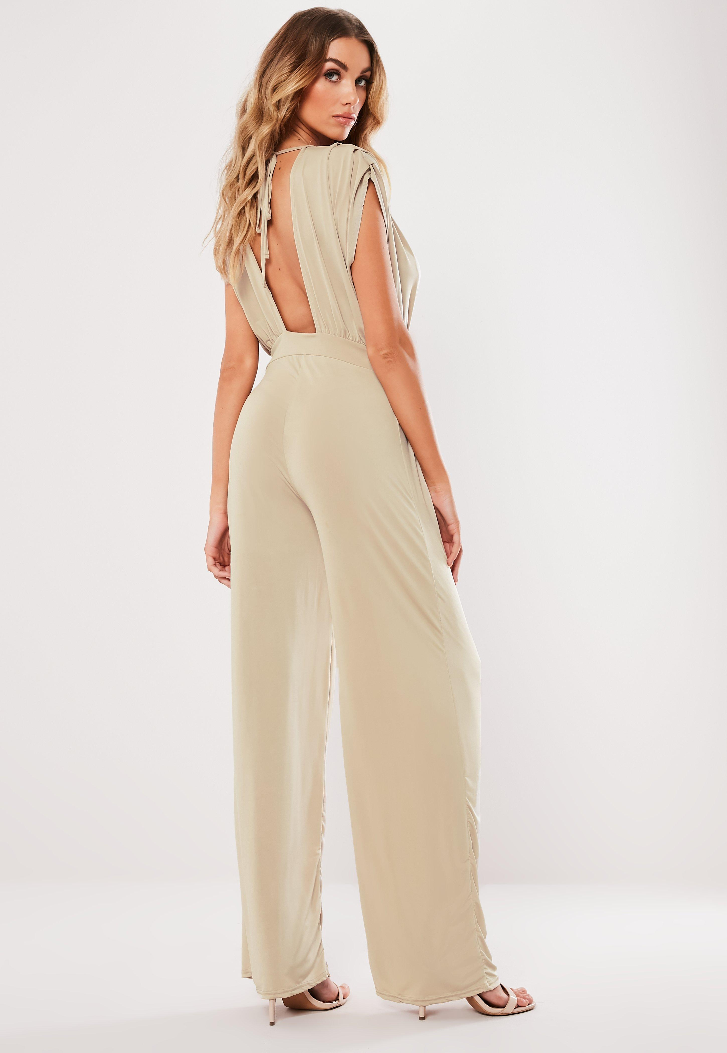 5c77e48847 Missguided - Natural Stone Slinky Plunge Jumpsuit - Lyst. View fullscreen