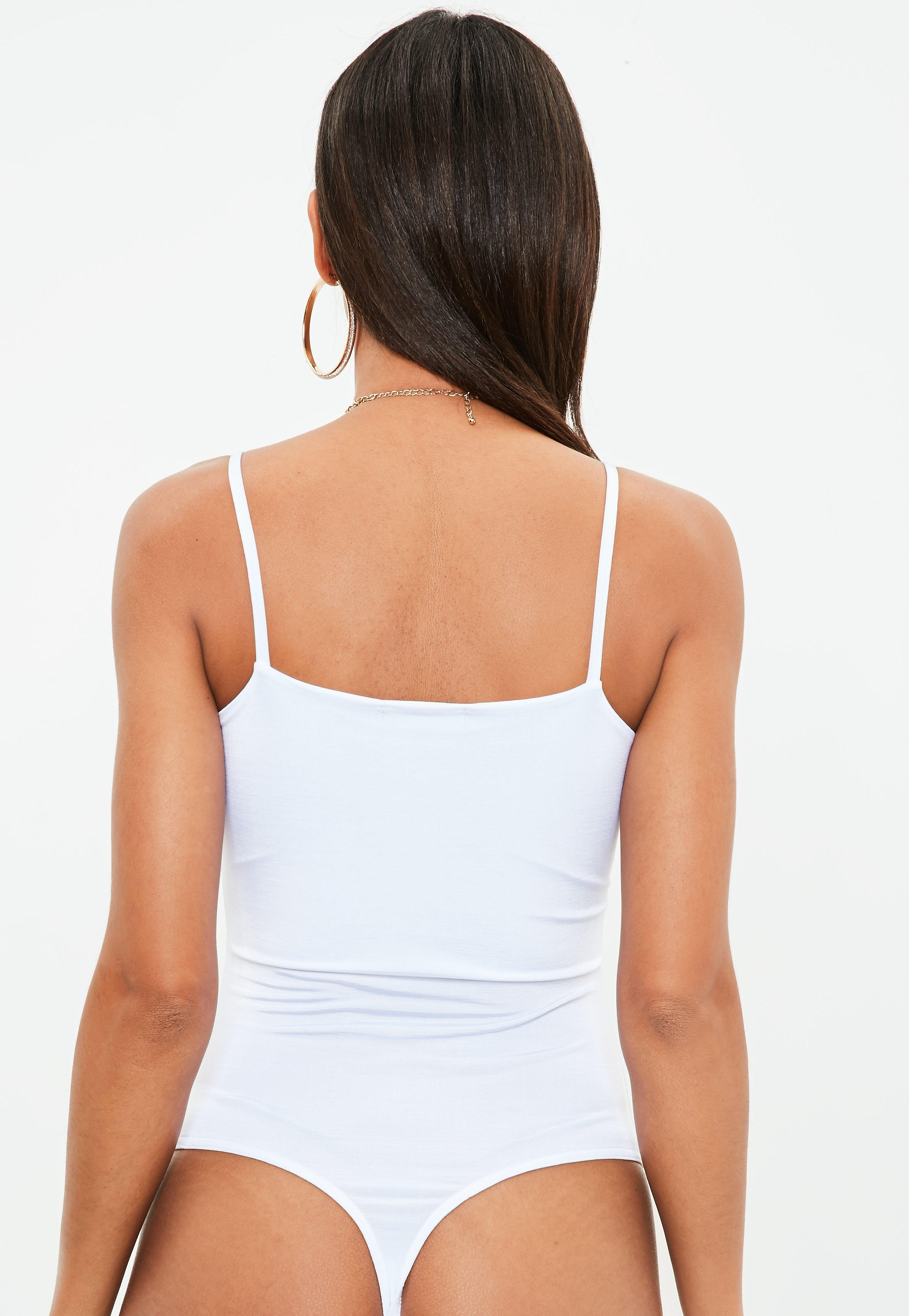 4d4507d637f Lyst - Missguided Petite White Cami Bodysuit in White