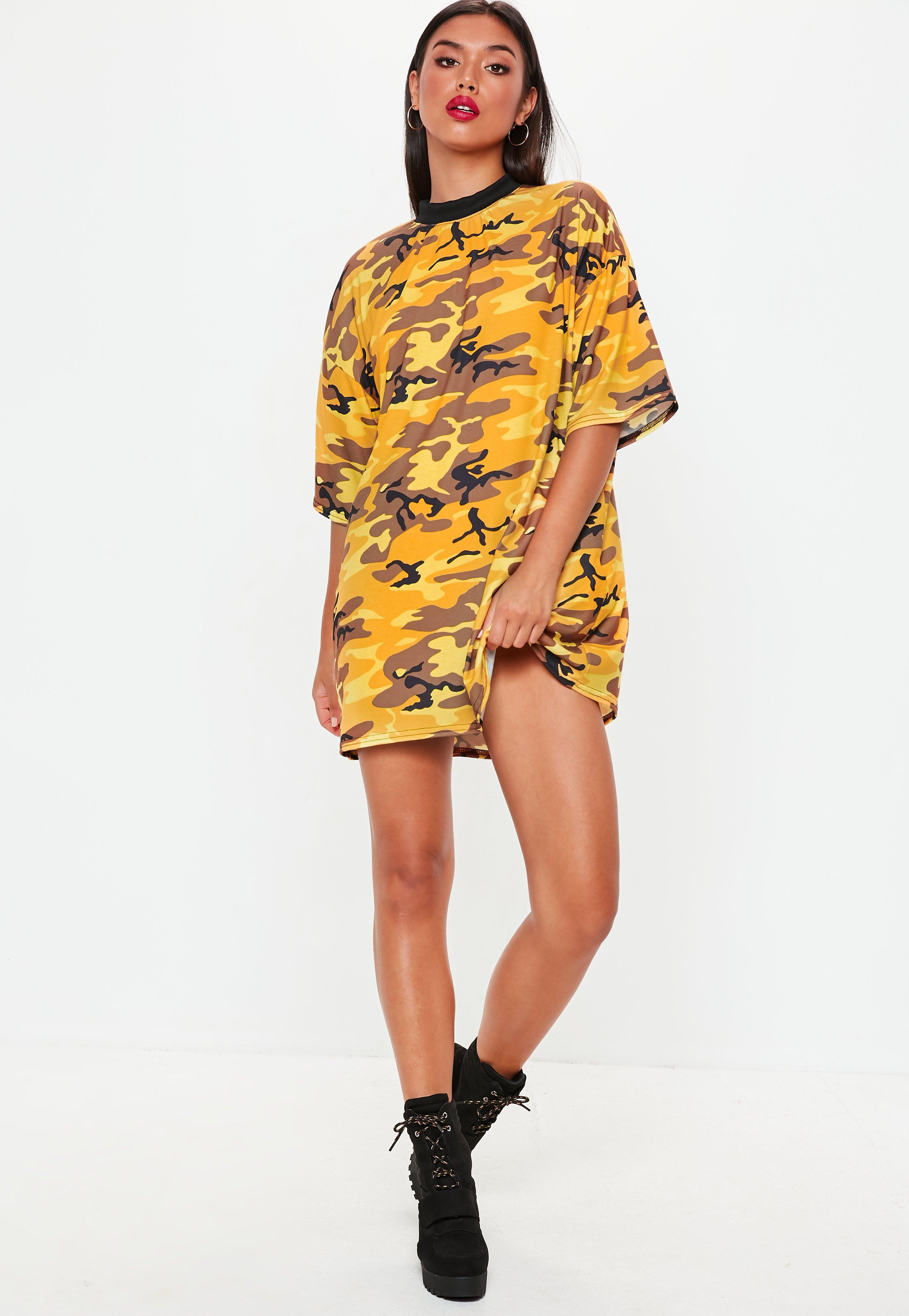 d8e00a6f7615d Lyst - Missguided Yellow Camo Oversized T Shirt Dress in Yellow
