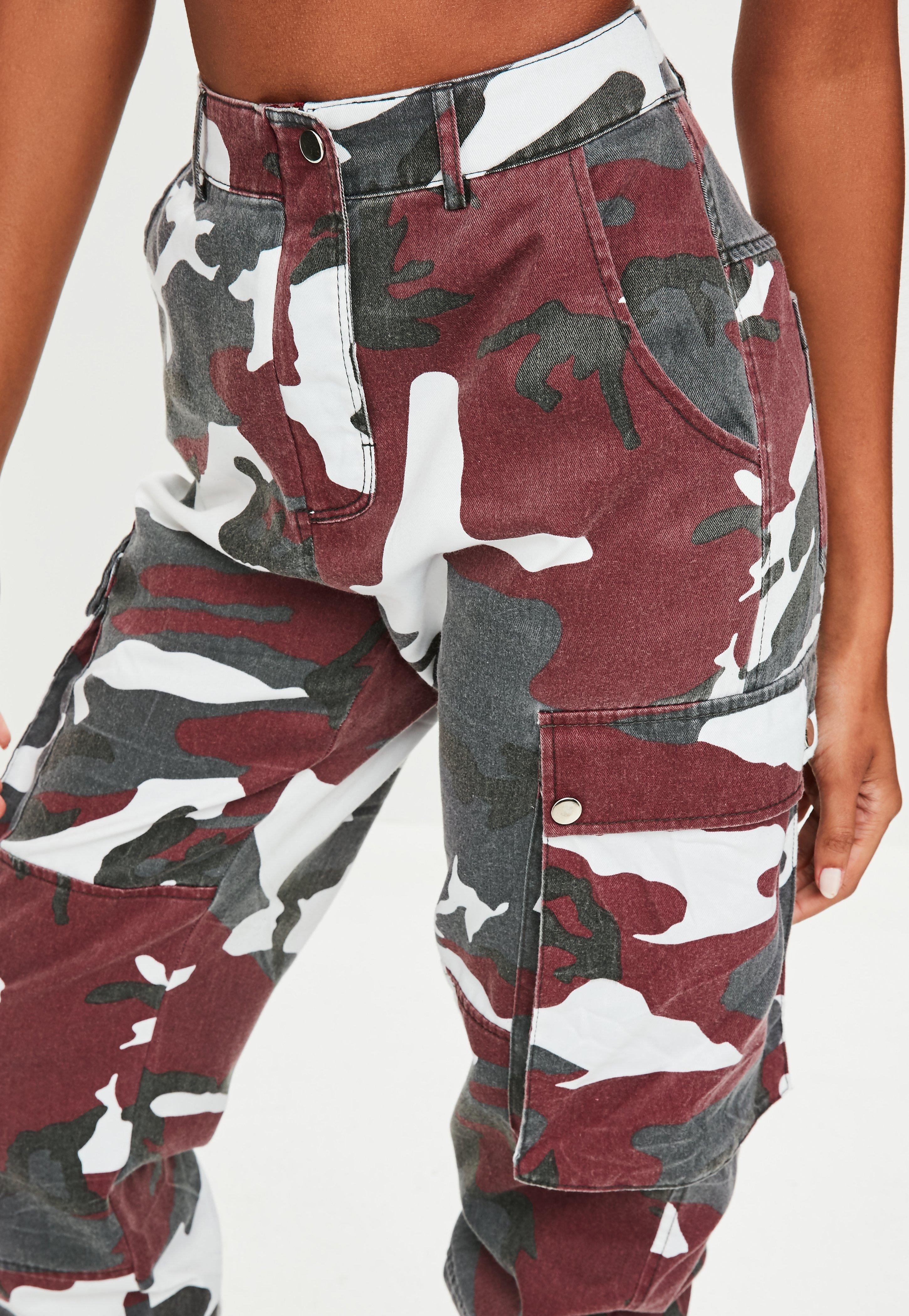 Missguided Red Camo Printed Cargo Pants in Red - Lyst 201a987e1