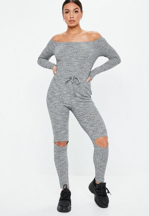 7464c02b72c3 Missguided Gray Rib Bardot Long Sleeve Jumpsuit in Gray - Lyst