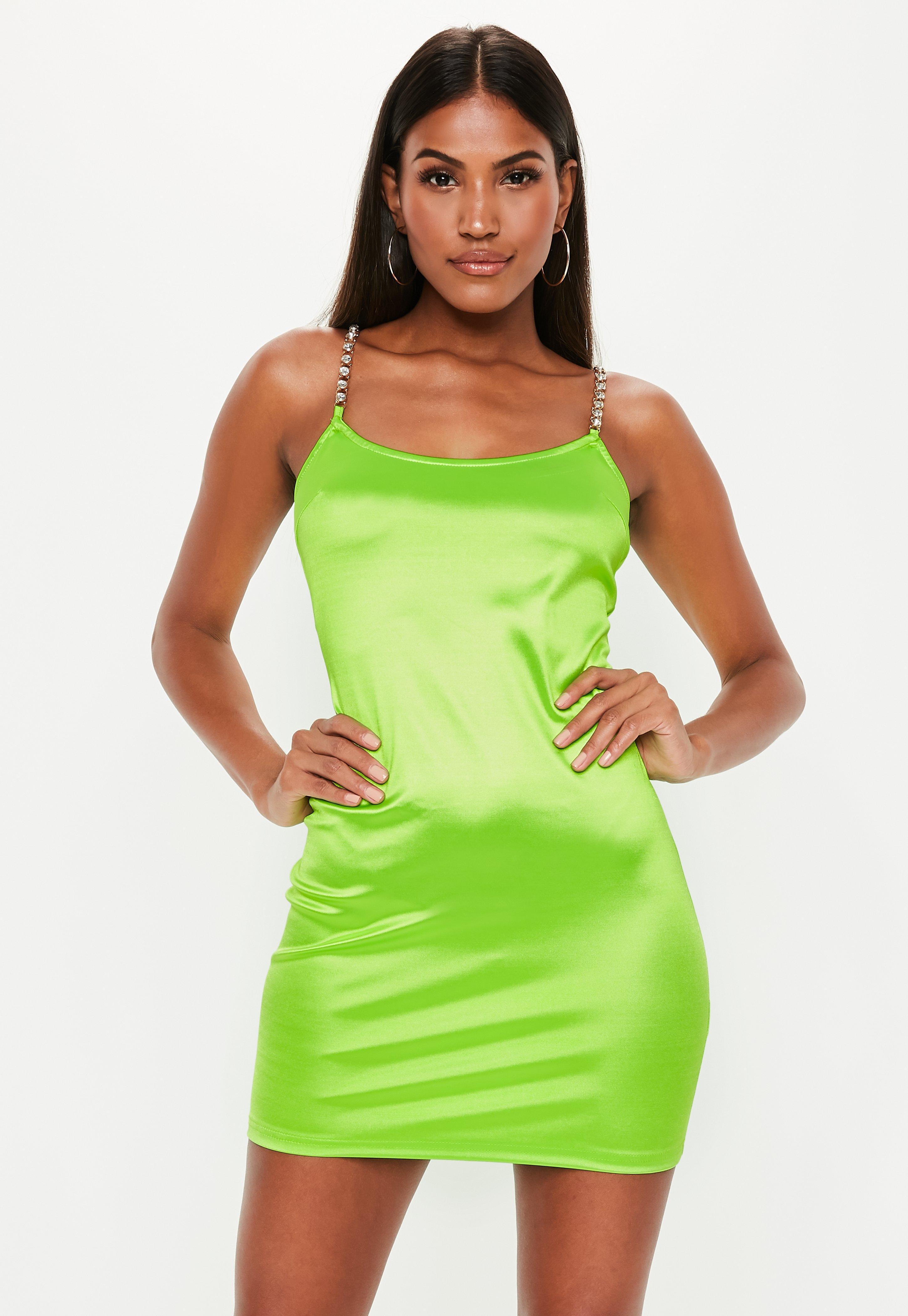 c2cf4e7039ae Missguided - Green Diamante Strap Stretch Satin Mini Dress - Lyst. View  fullscreen