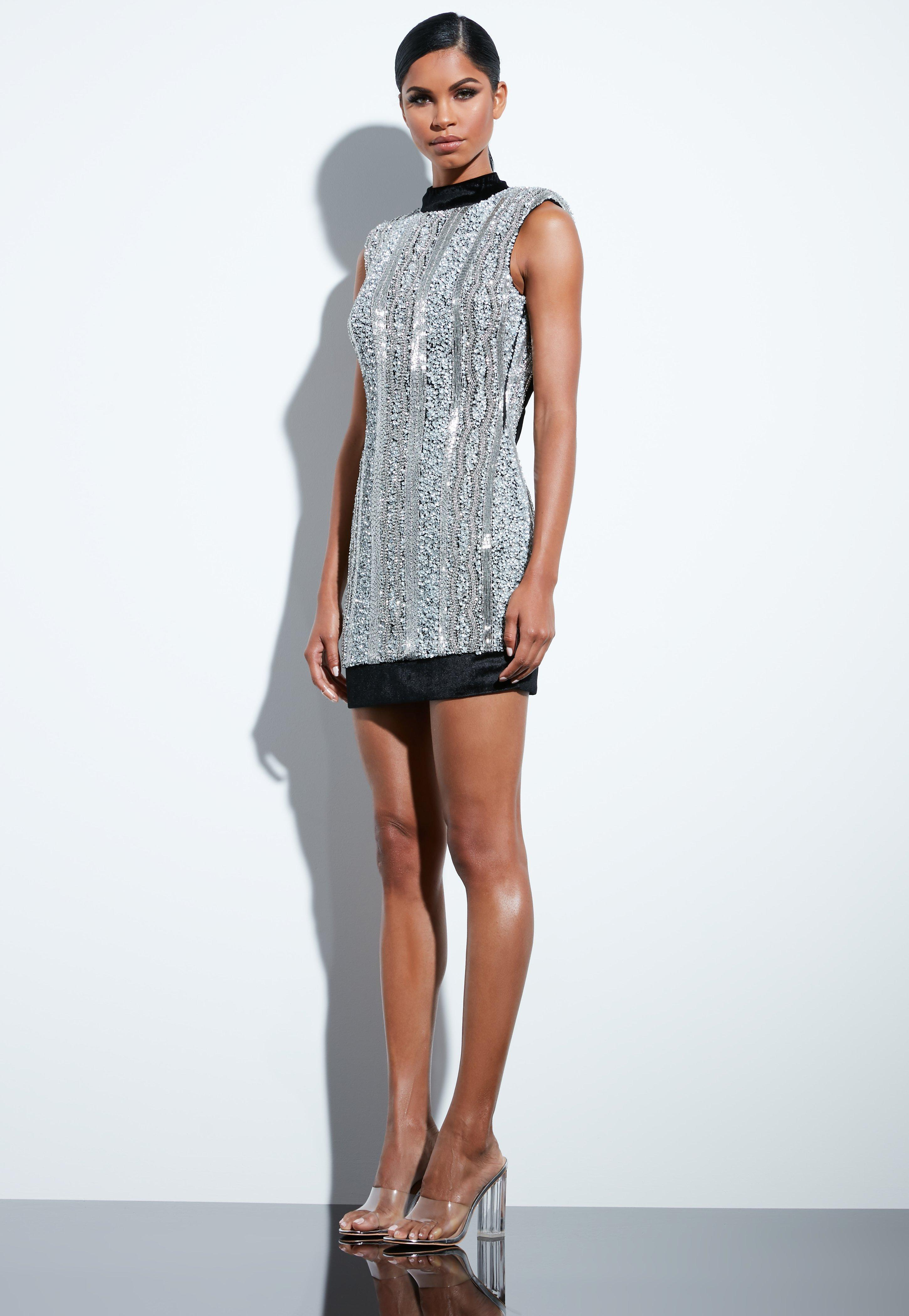 Lyst - Missguided Peace + Love Silver Embellished Sequin High Neck ... 8d564bbcf3c
