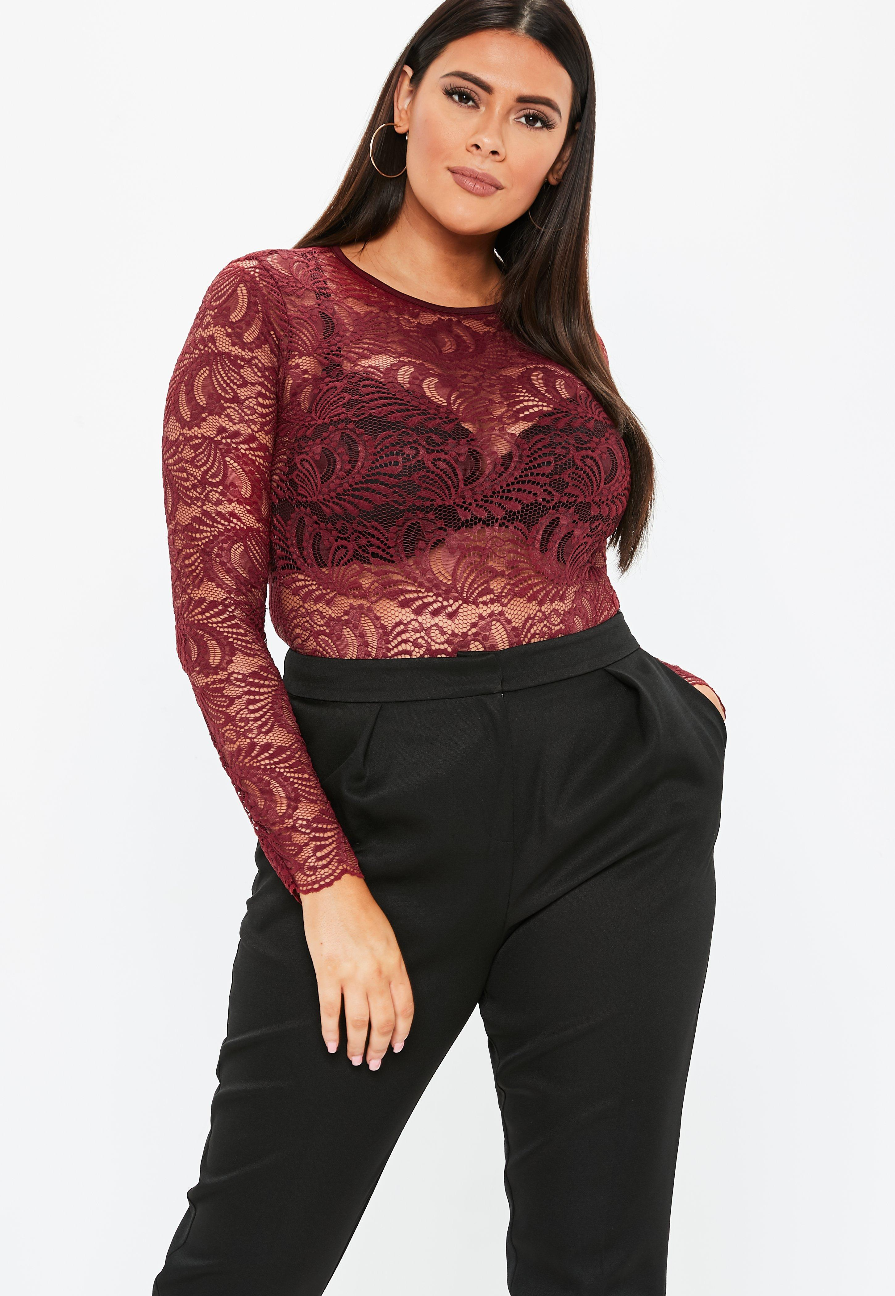 edc3a498a8 Lyst - Missguided Plus Size Burgundy Lace Bodysuit in Red