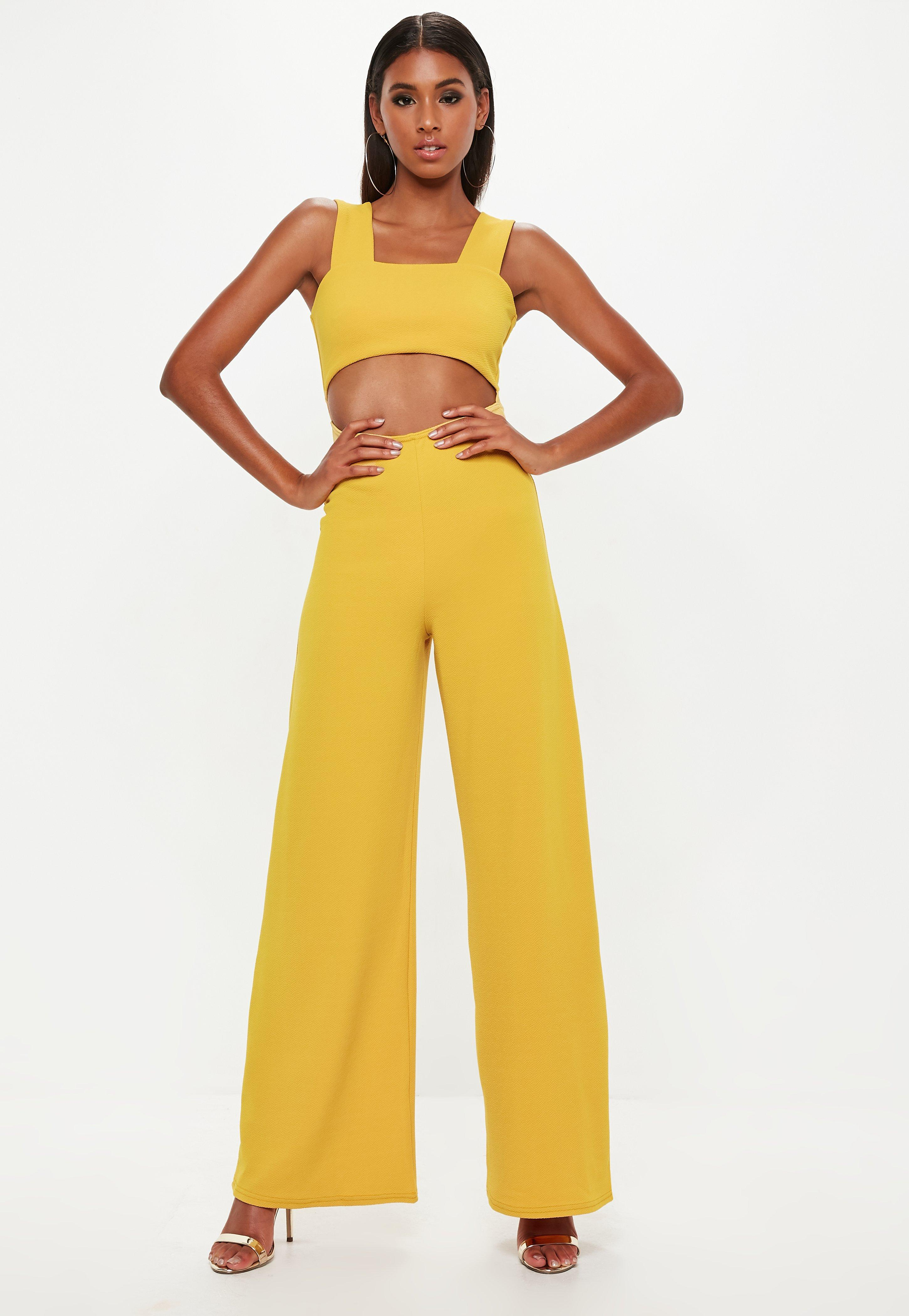 cdf6940af0a Missguided - Yellow Mustard Cut Out Wide Leg Jumpsuit - Lyst. View  fullscreen