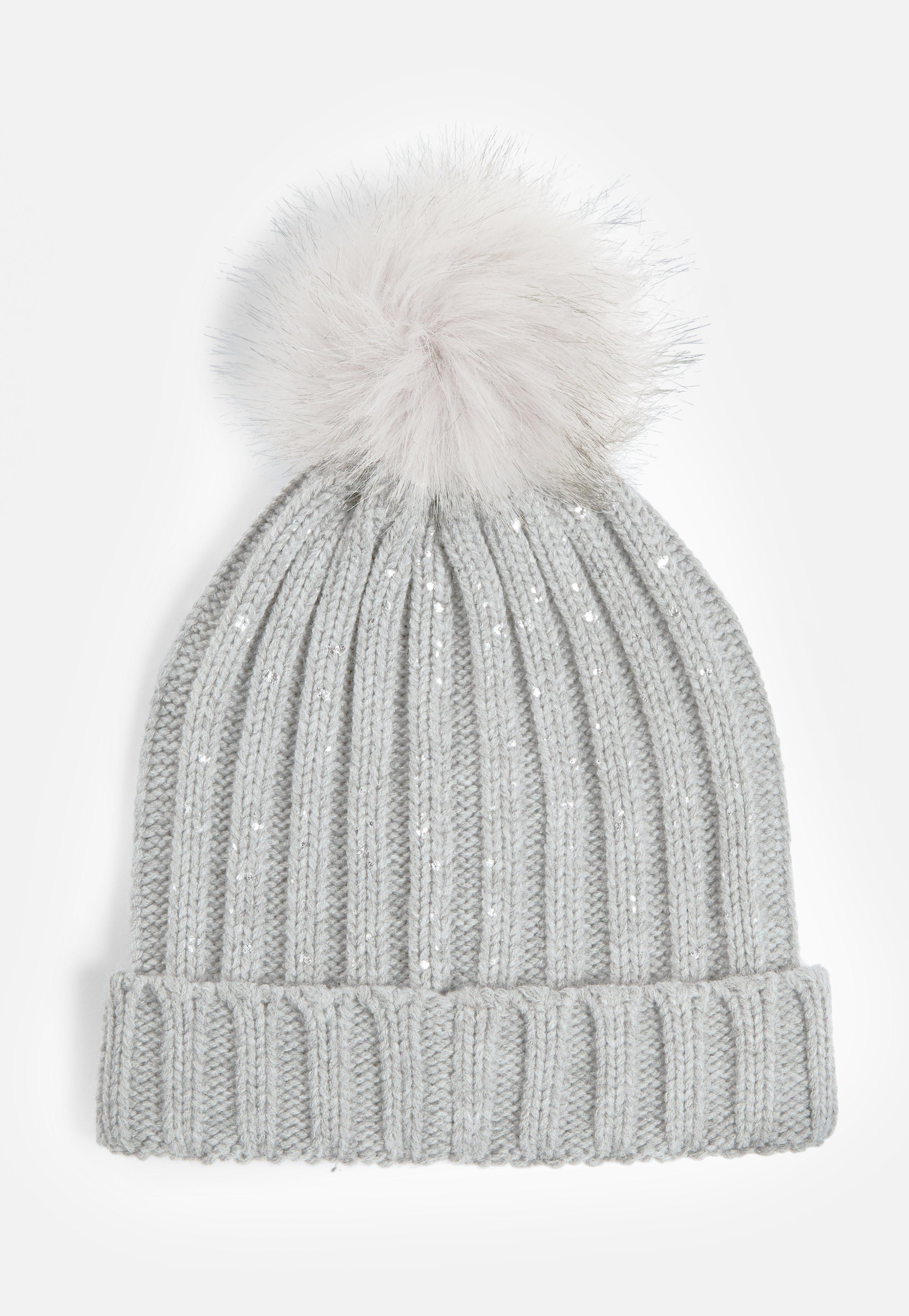 69a51cd9549 Lyst - Missguided Grey Metallic Faux Fur Pom Pom Beanie Hat in Gray