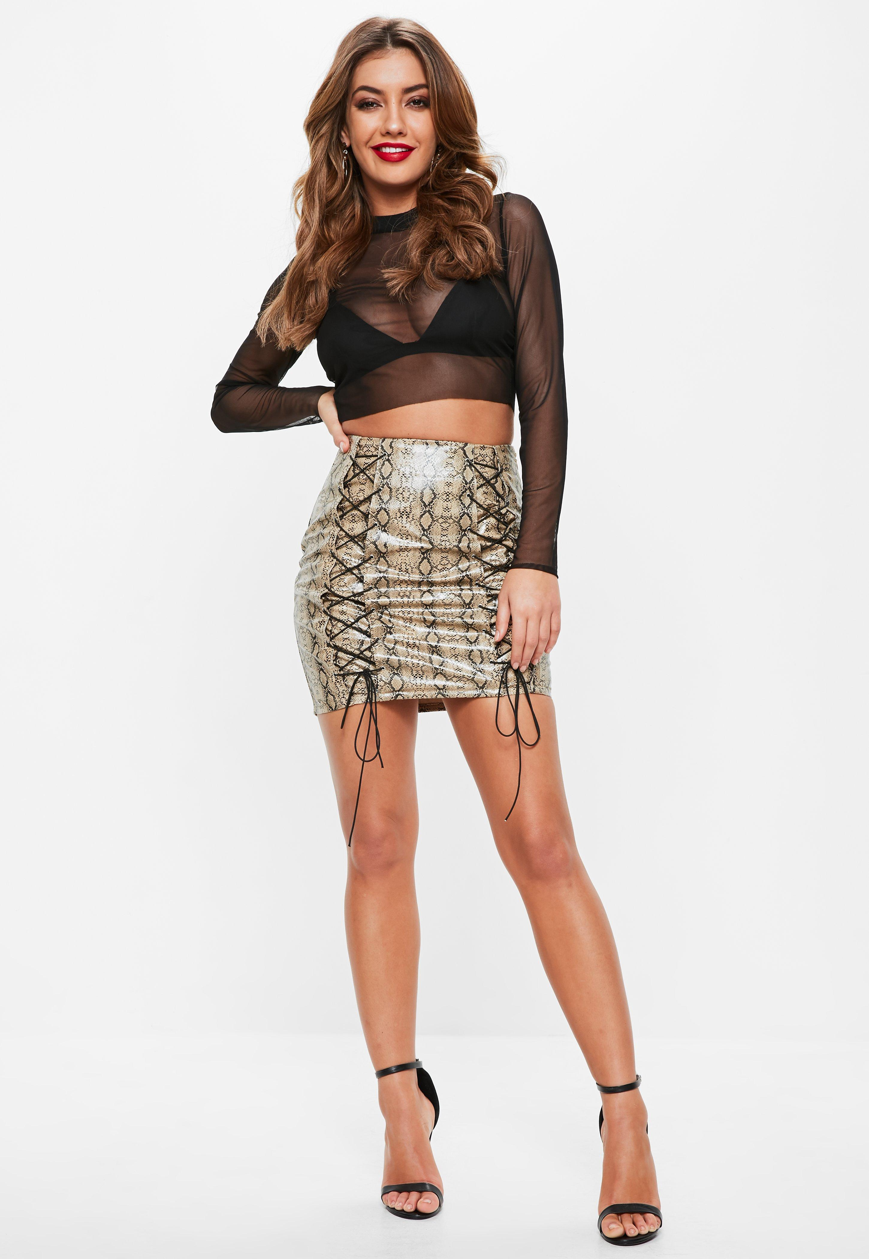 67ca437f390b Missguided - Black Fishnet Mesh Ribbed Neck Crop Top - Lyst. View fullscreen
