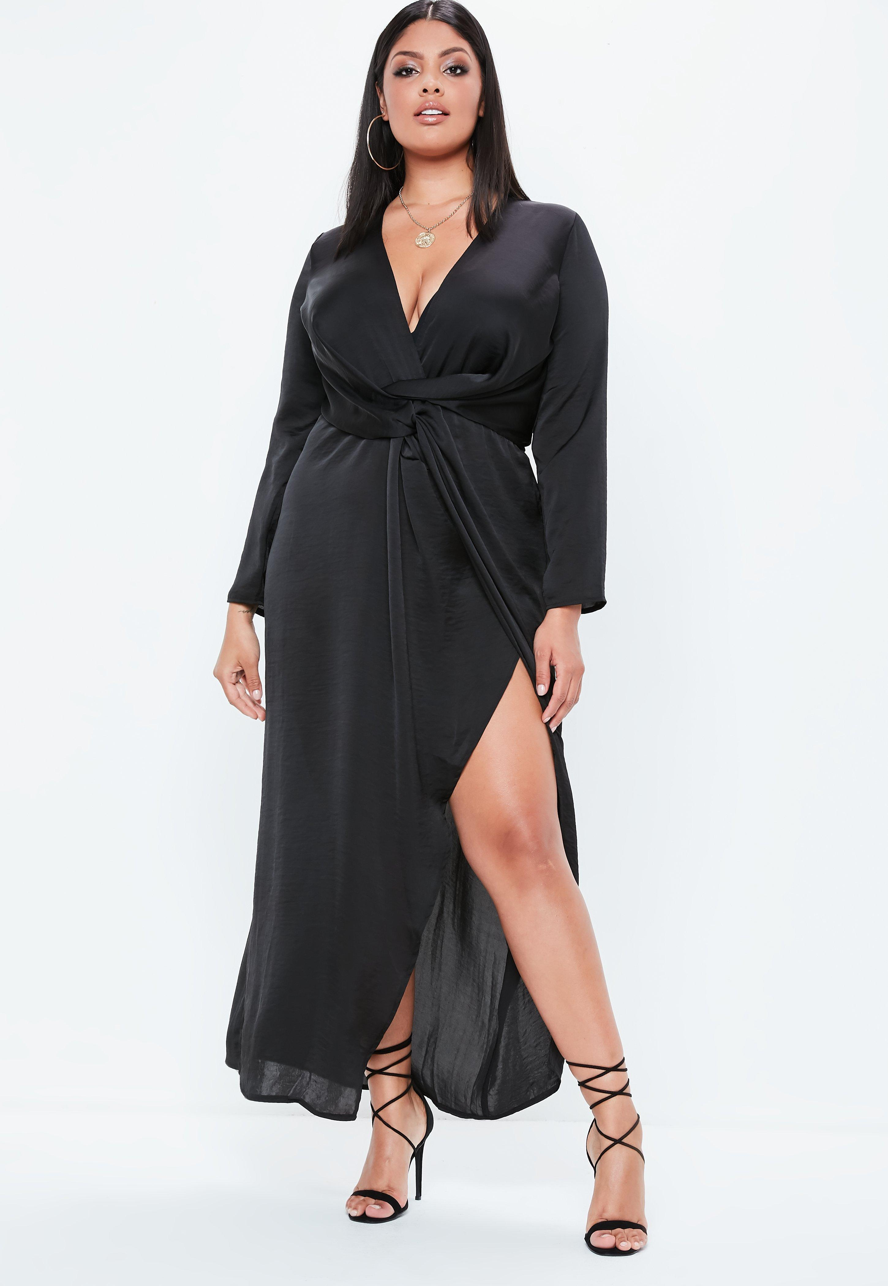 a8b0223d84e9 Lyst - Missguided Plus Size Black Satin Thigh Split Wrap Maxi Dress ...