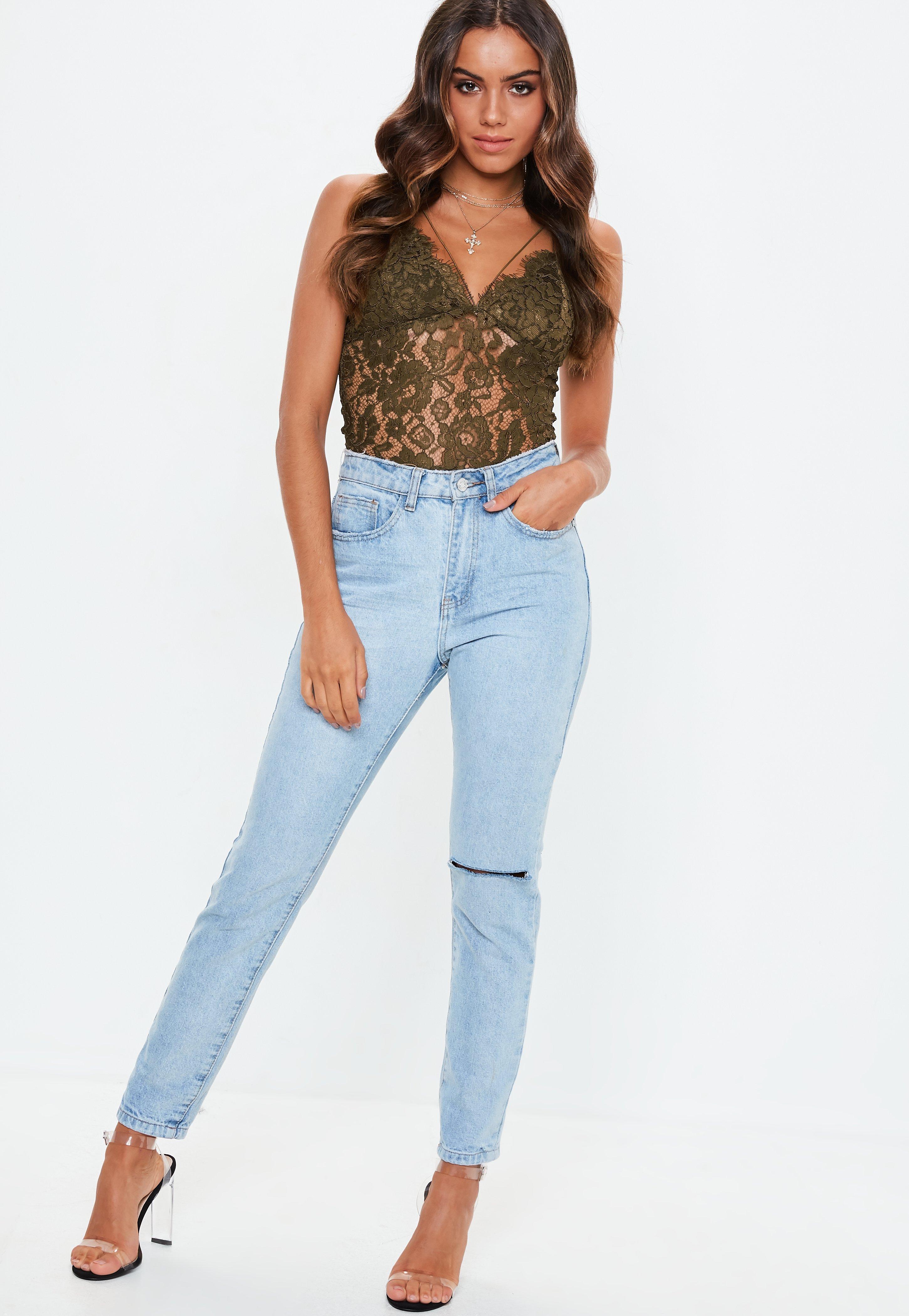 Missguided - Natural Khaki Corded Lace Bodysuit - Lyst. View fullscreen 0753e2d3a