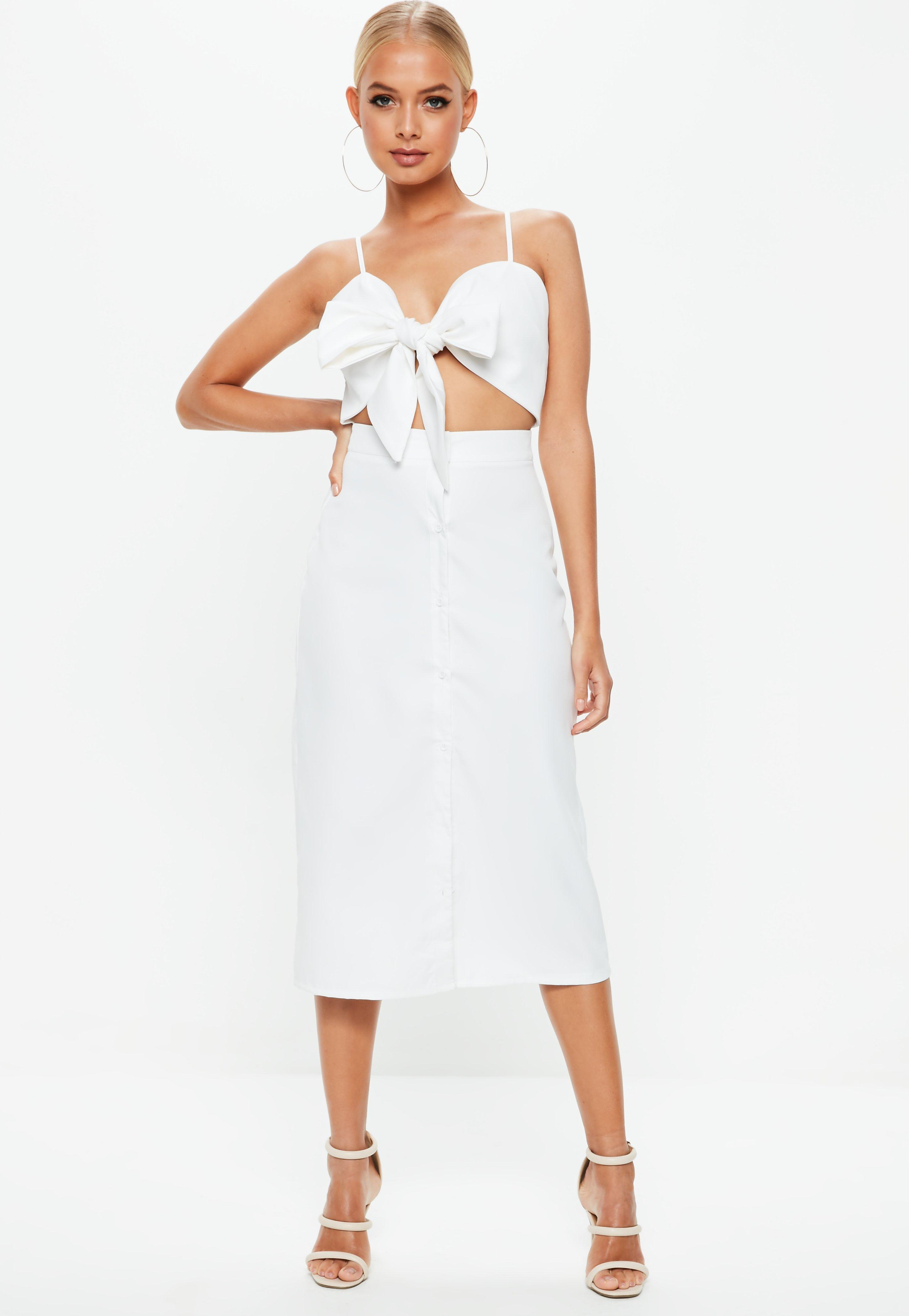 7a012b1639b Lyst - Missguided White Tie Front Button Down Strappy Midi Dress in ...