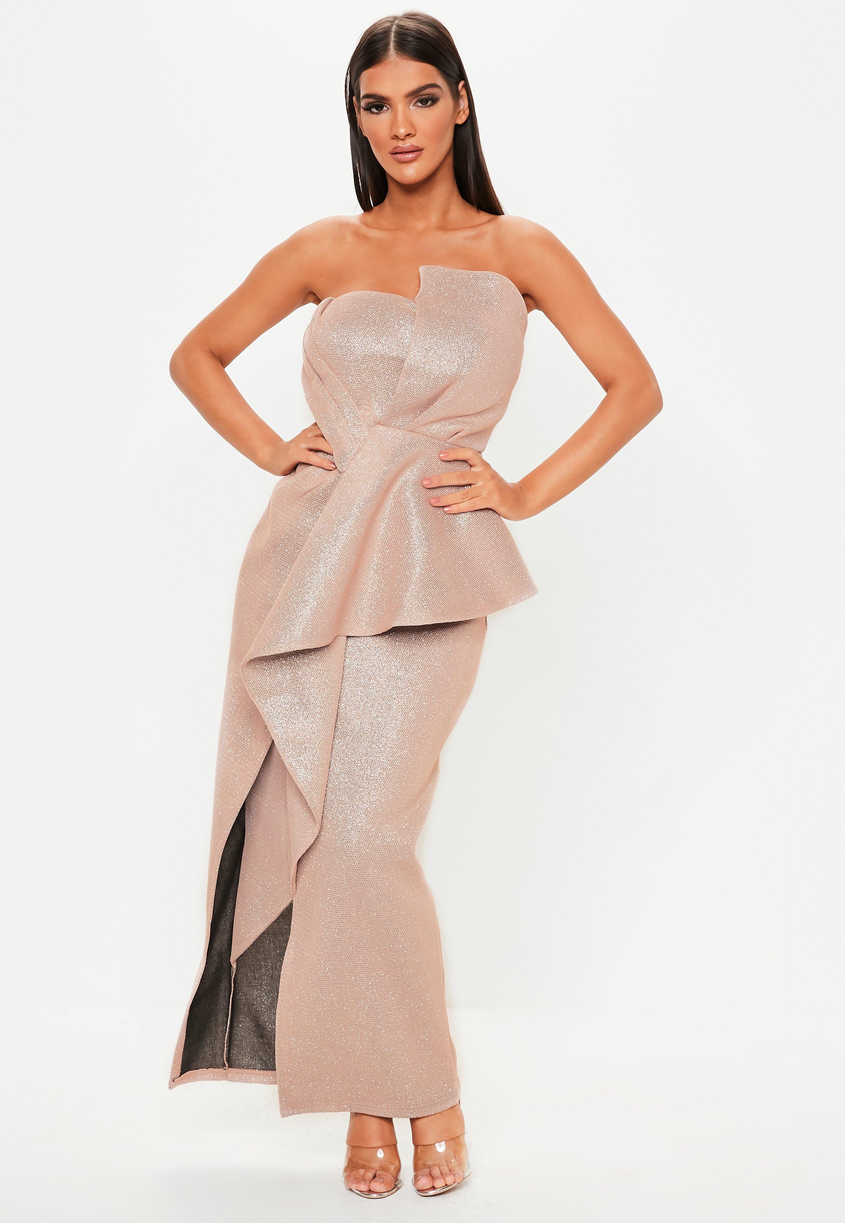 e63ffeaff0655b Missguided - Premium Pink Glitter Bandeau Ruffle Dress - Lyst. View  fullscreen