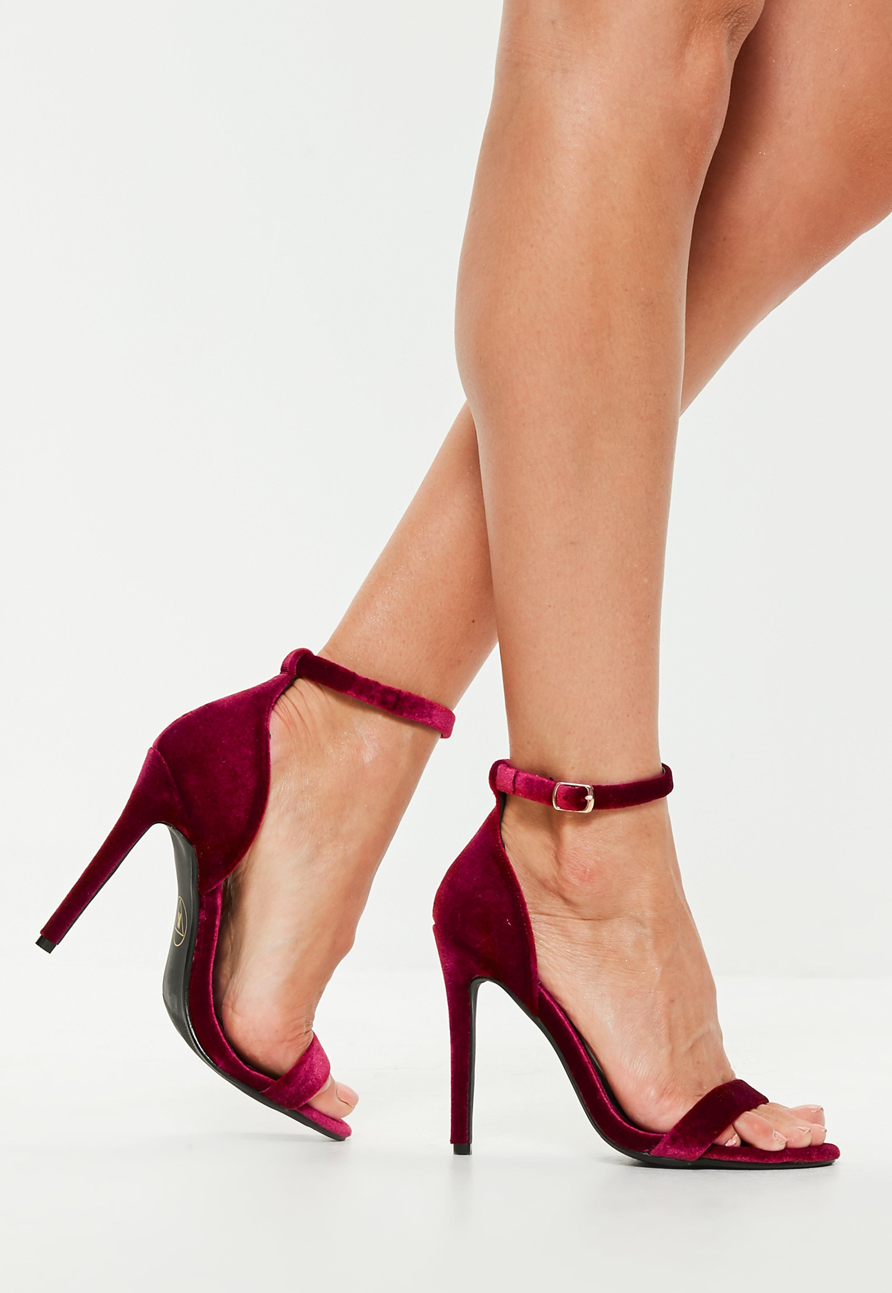 ca9c299d313 Lyst - Missguided Burgundy Two Strap Velvet Barely There Heel