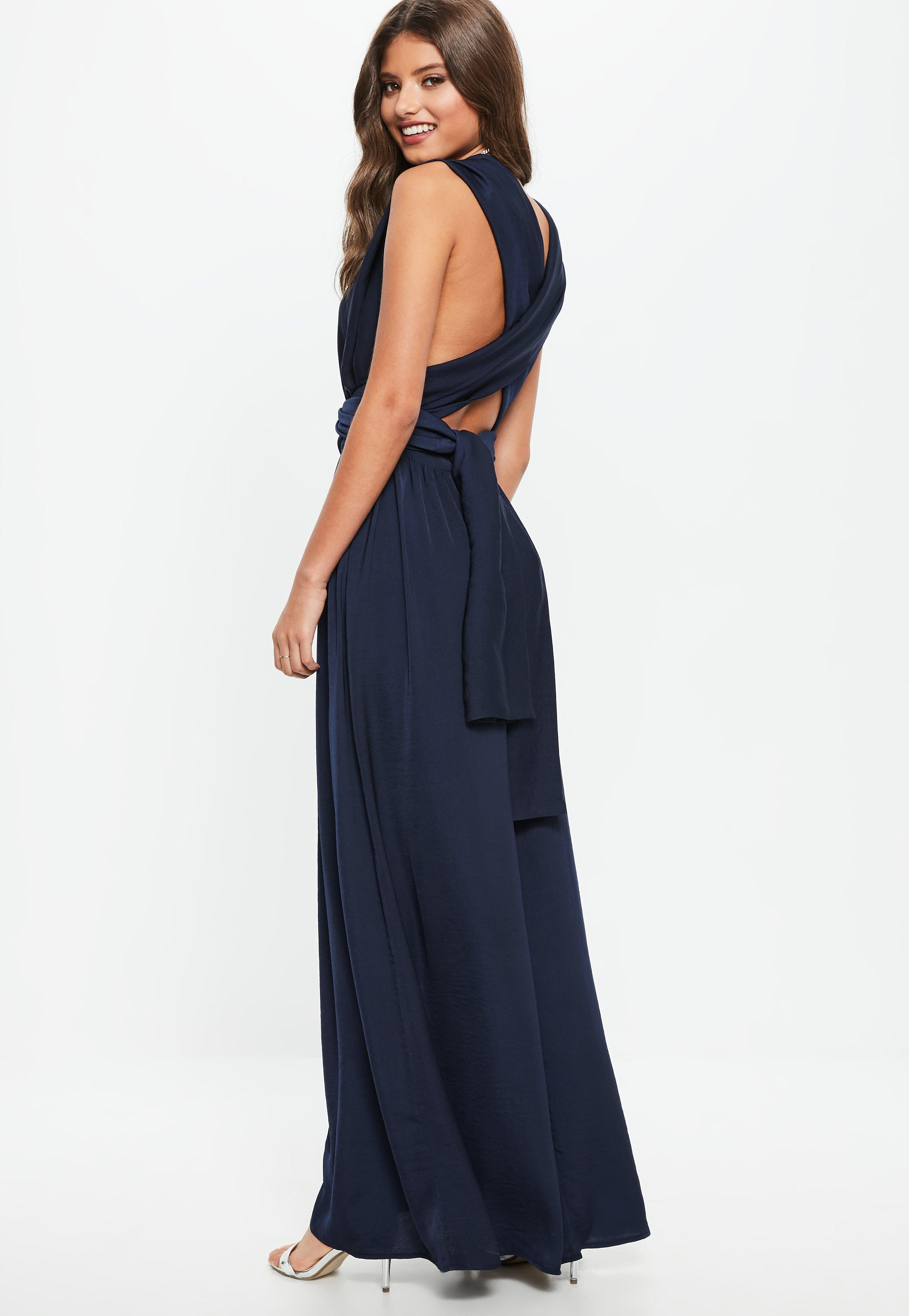 8e6f188fddd Lyst - Missguided Bridesmaid Navy Satin Multiway Maxi Dress in Blue