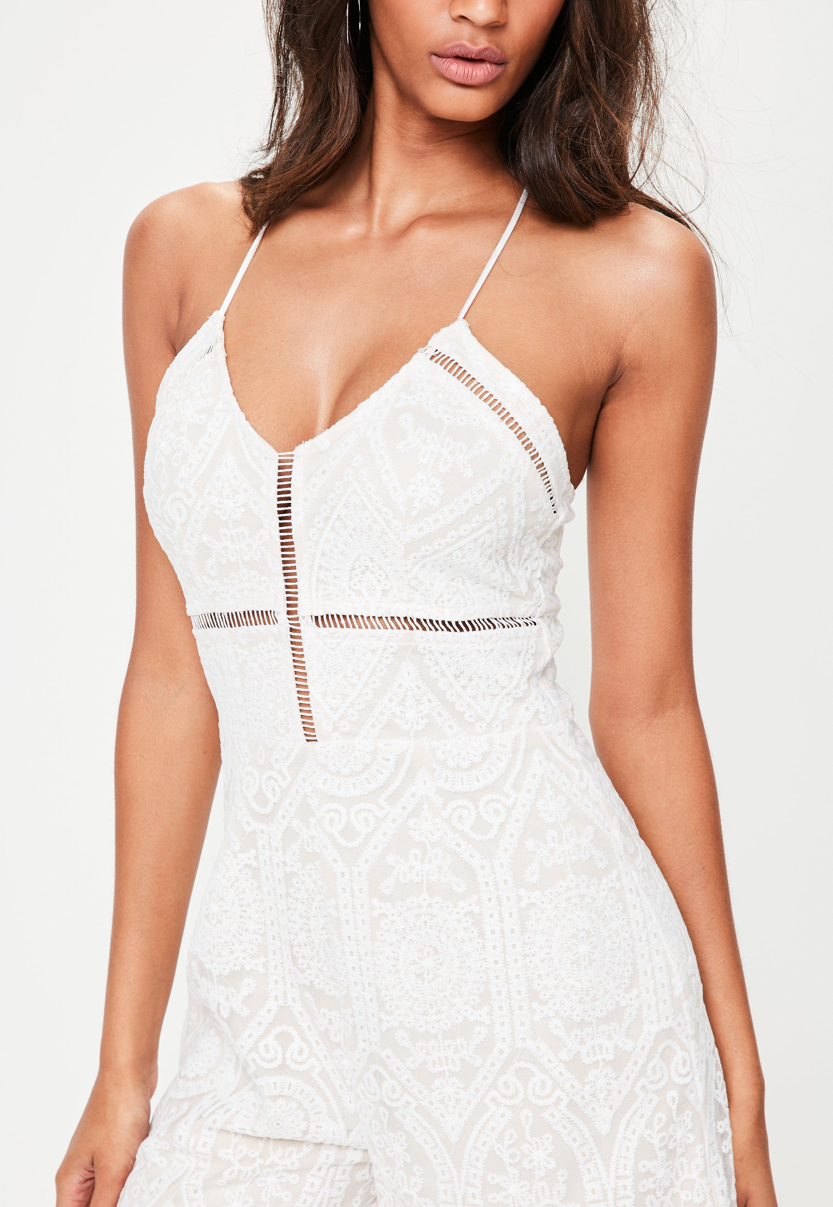 a04df23b4936 Lyst - Missguided White Cami Lace Culotte Jumpsuit in White