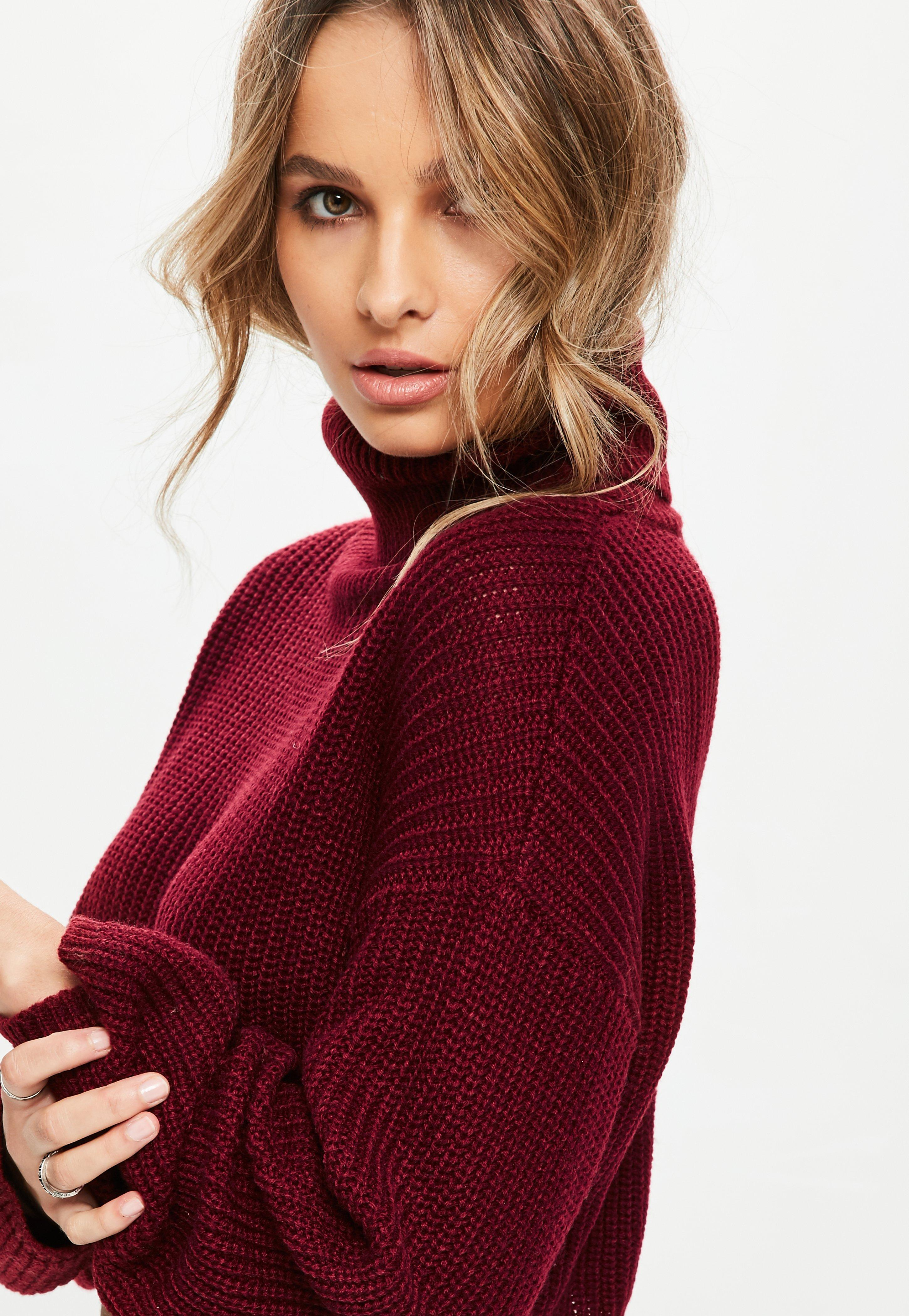 5e4c07398 Missguided Burgundy Roll Neck Knitted Crop Sweater in Red - Save ...