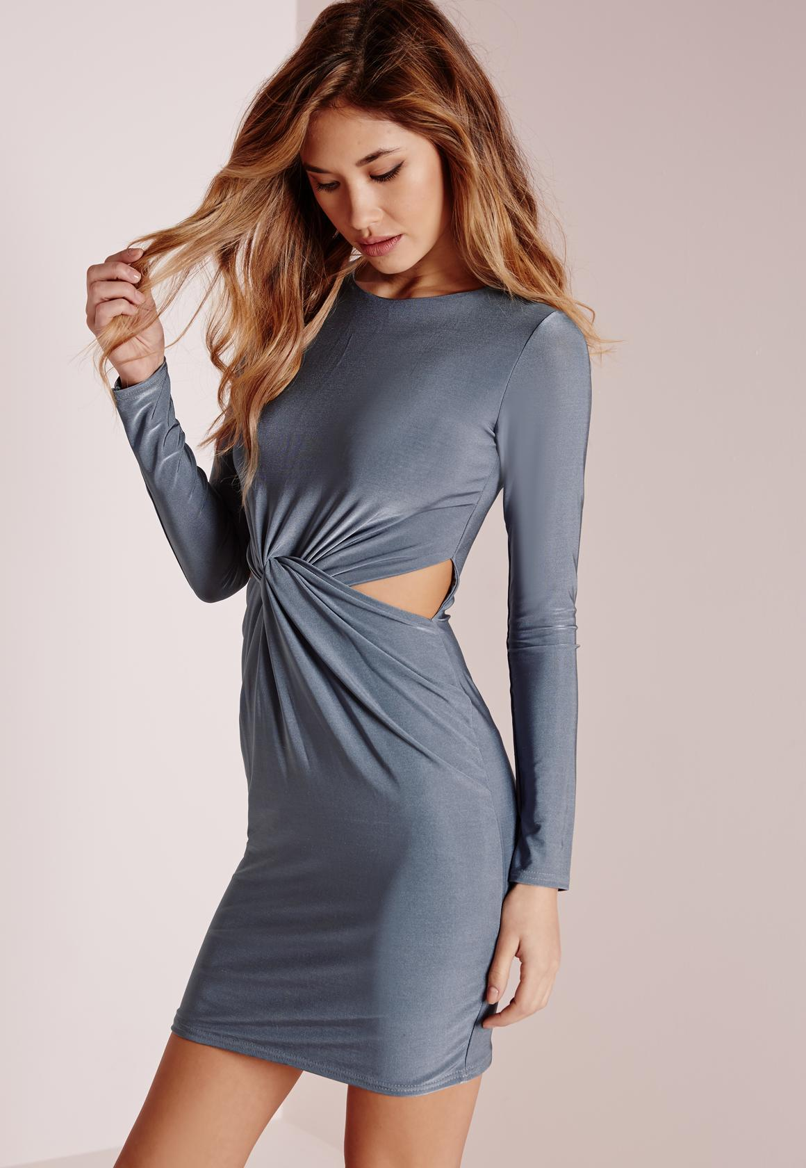 a674c472f8ba Lyst - Missguided Slinky Long Sleeve Knot Front Bodycon Dress Blue ...