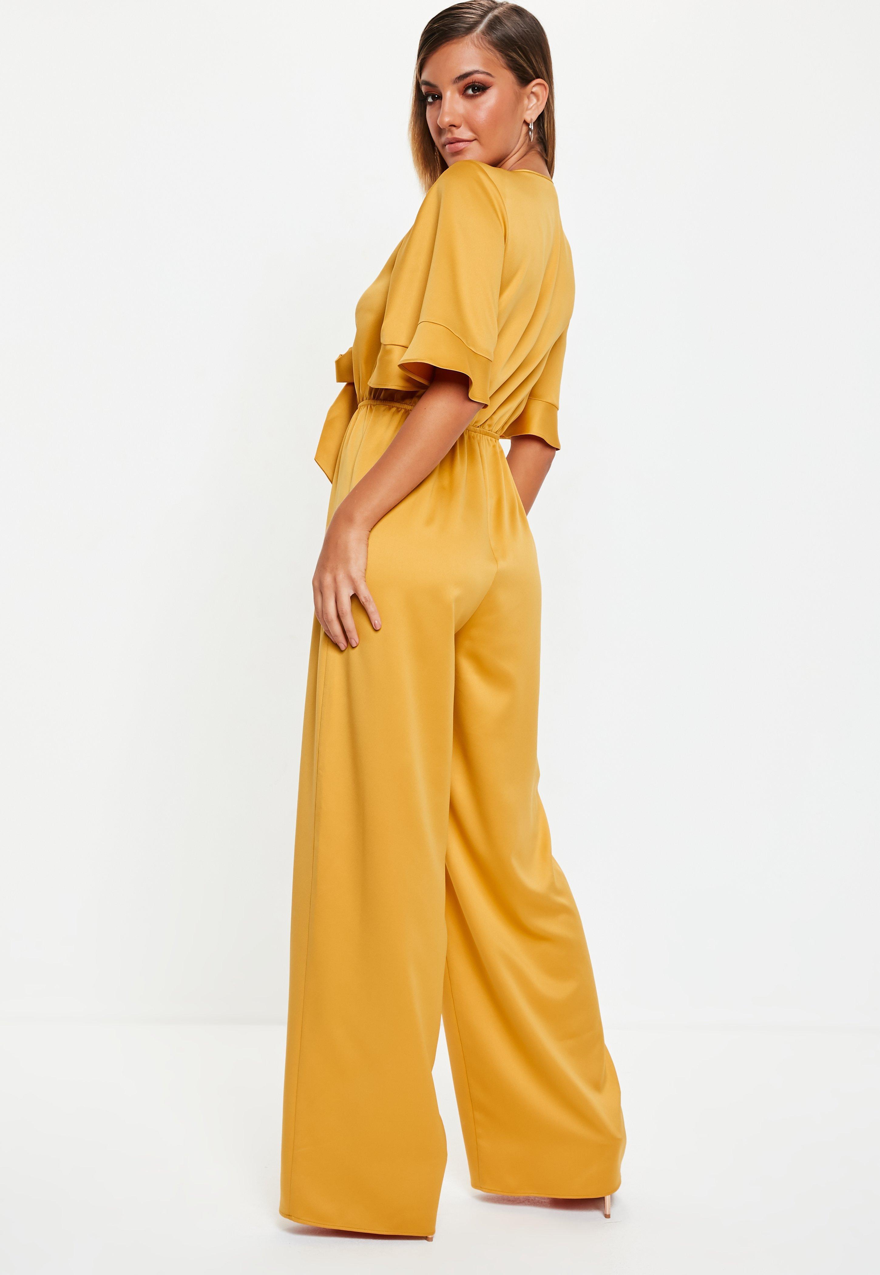 a326aad64d01 Missguided - Yellow Mustard Kimono Sleeve Satin Wide Leg Jumpsuit - Lyst.  View fullscreen