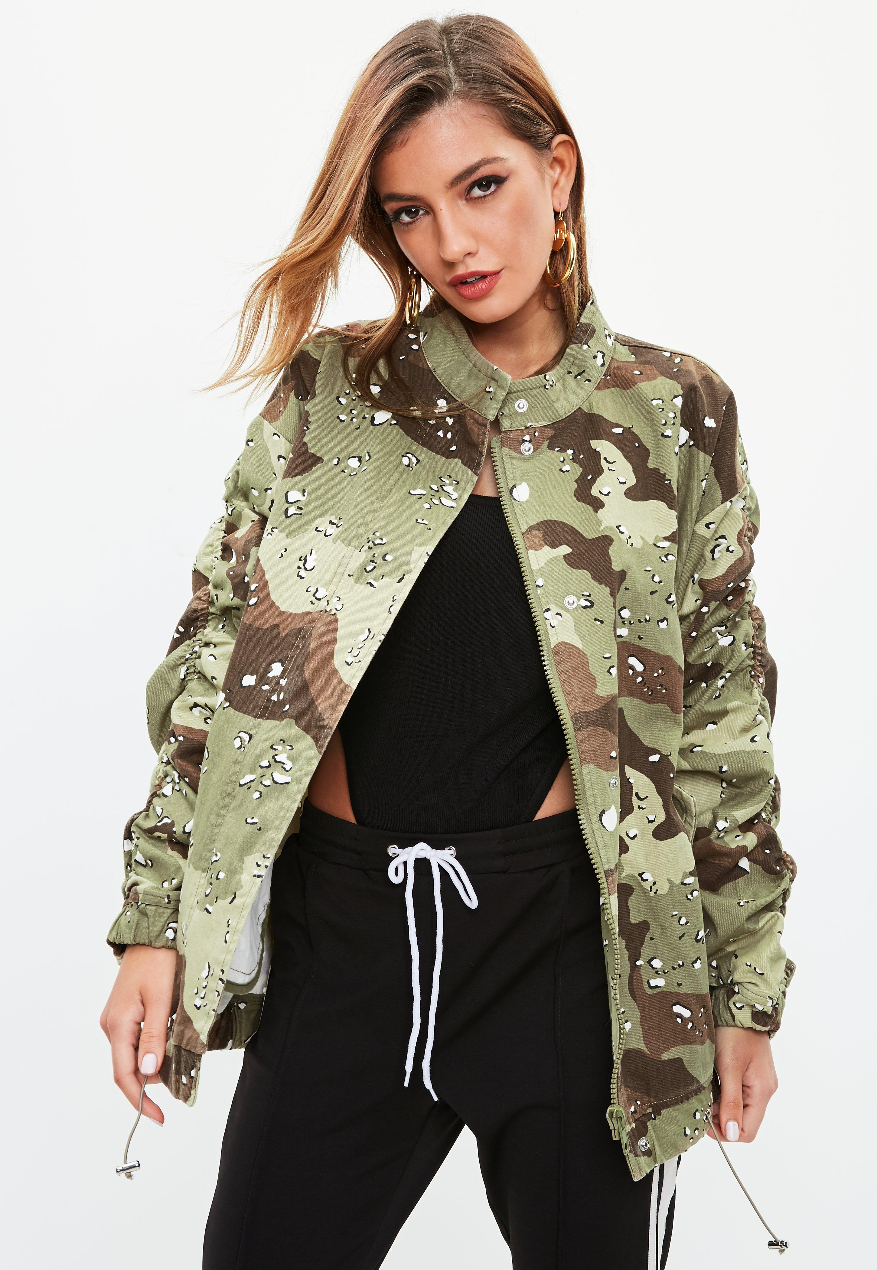 1ba409e949b Missguided. Women's Khaki Camo Ruched Sleeve Parka Jacket