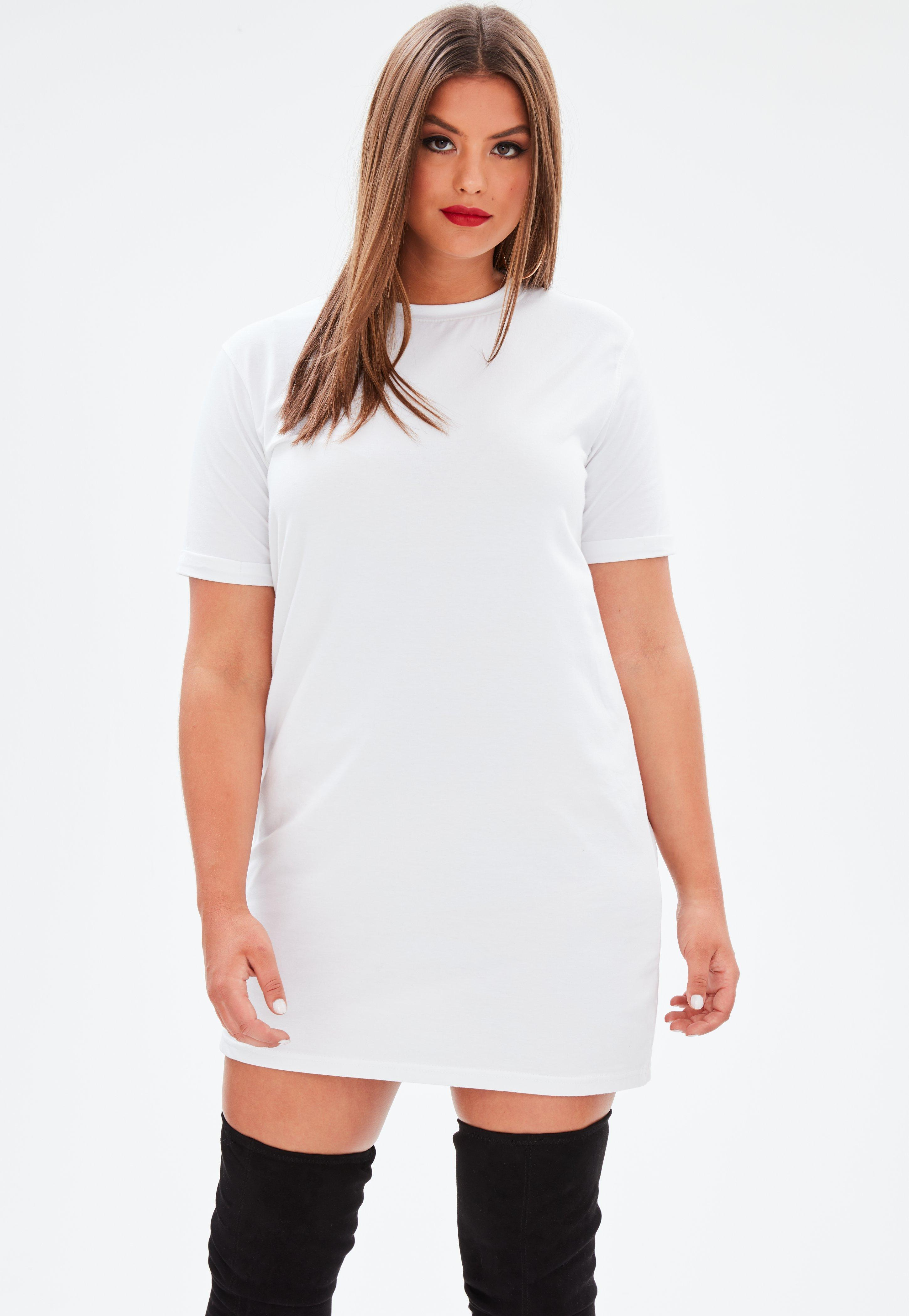 5aee75821c001e Missguided Curve White Oversized T-shirt Dress in White - Lyst