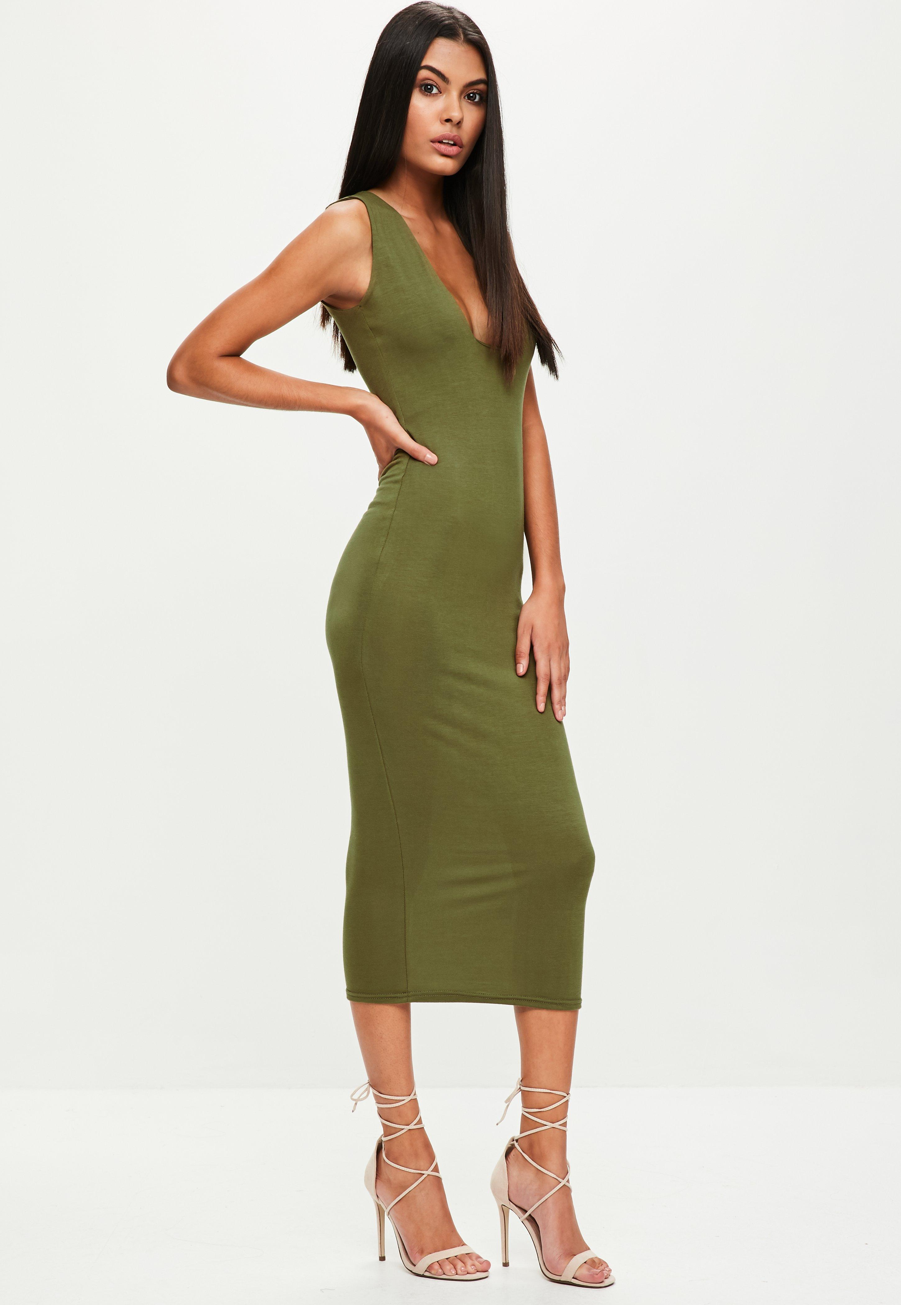 b596fcd88c Lyst - Missguided Khaki Jersey Square Neck Dress in Green